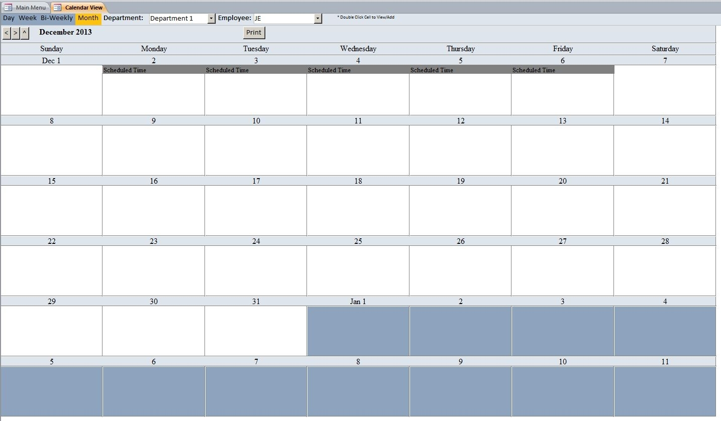 Employee Vacation Tracking Database Template | Employee