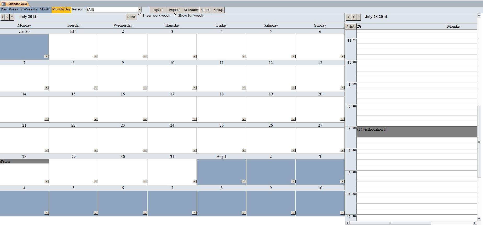 Enhanced Calendar Scheduling Database Template | Calendar
