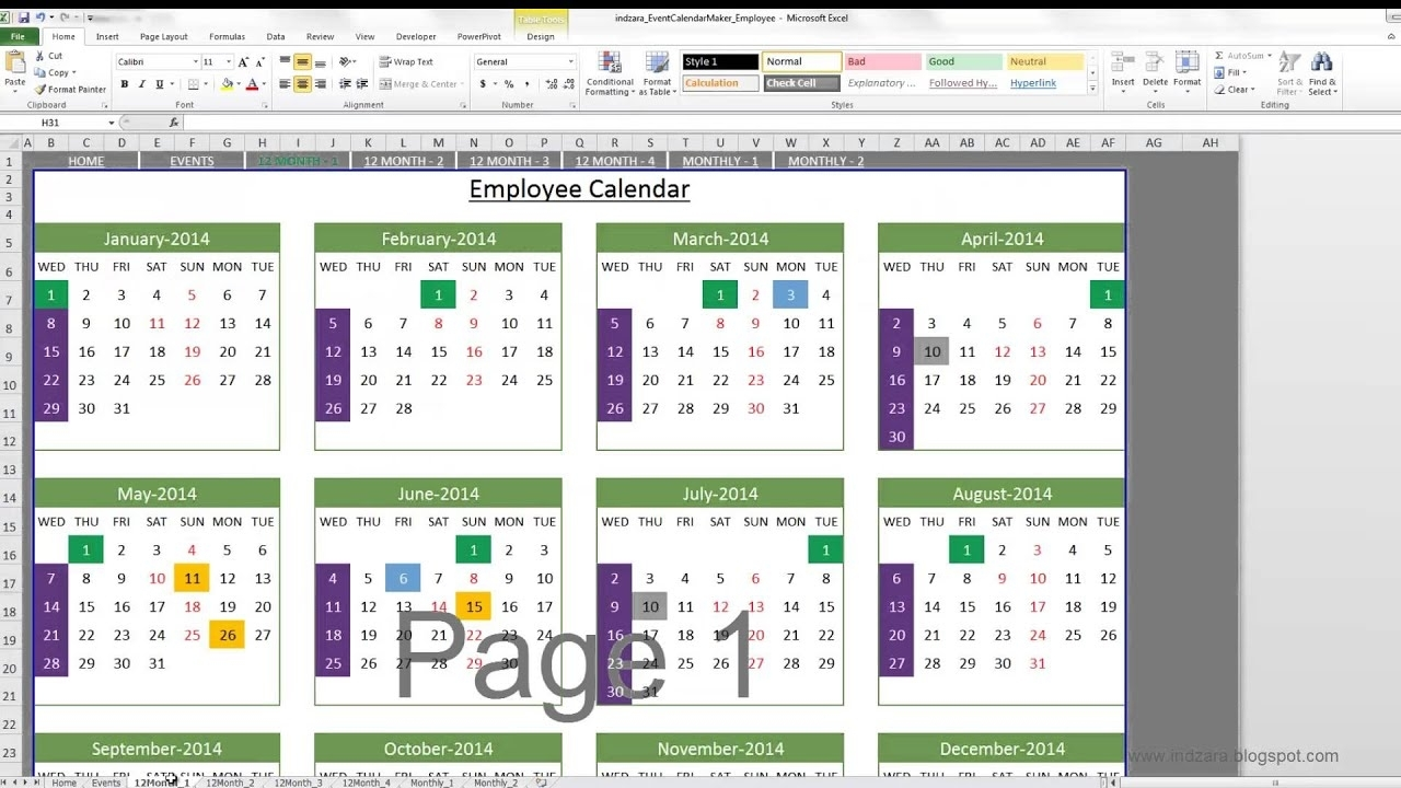 Event Calendar Maker (Excel Template)