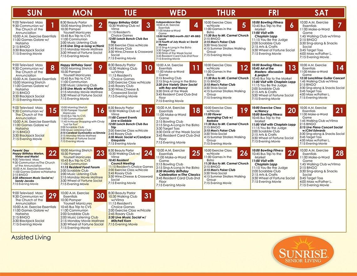 Example Assisted Living Calendar From Sunrise Senior Living