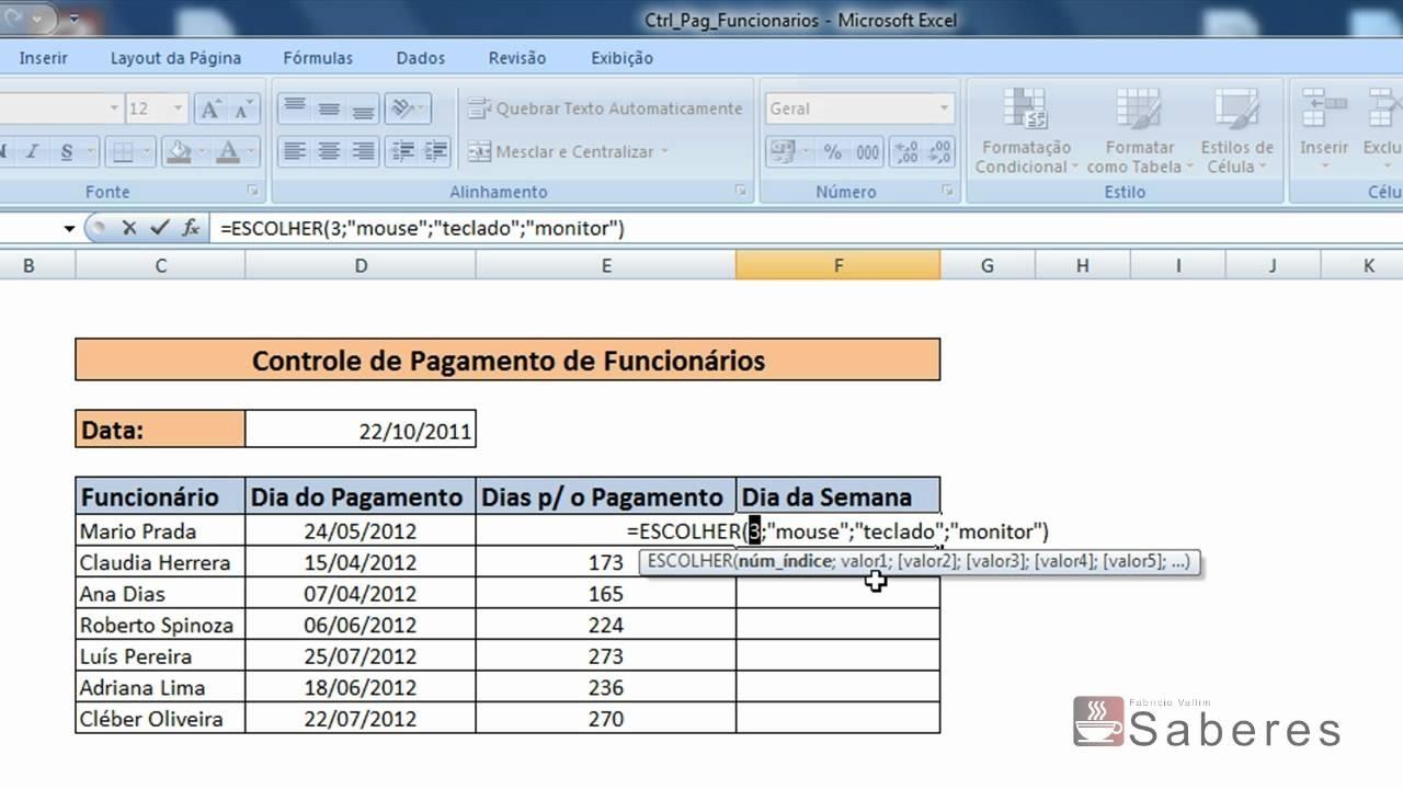 Excel 2007 - Exibir Os Dias Da Semana