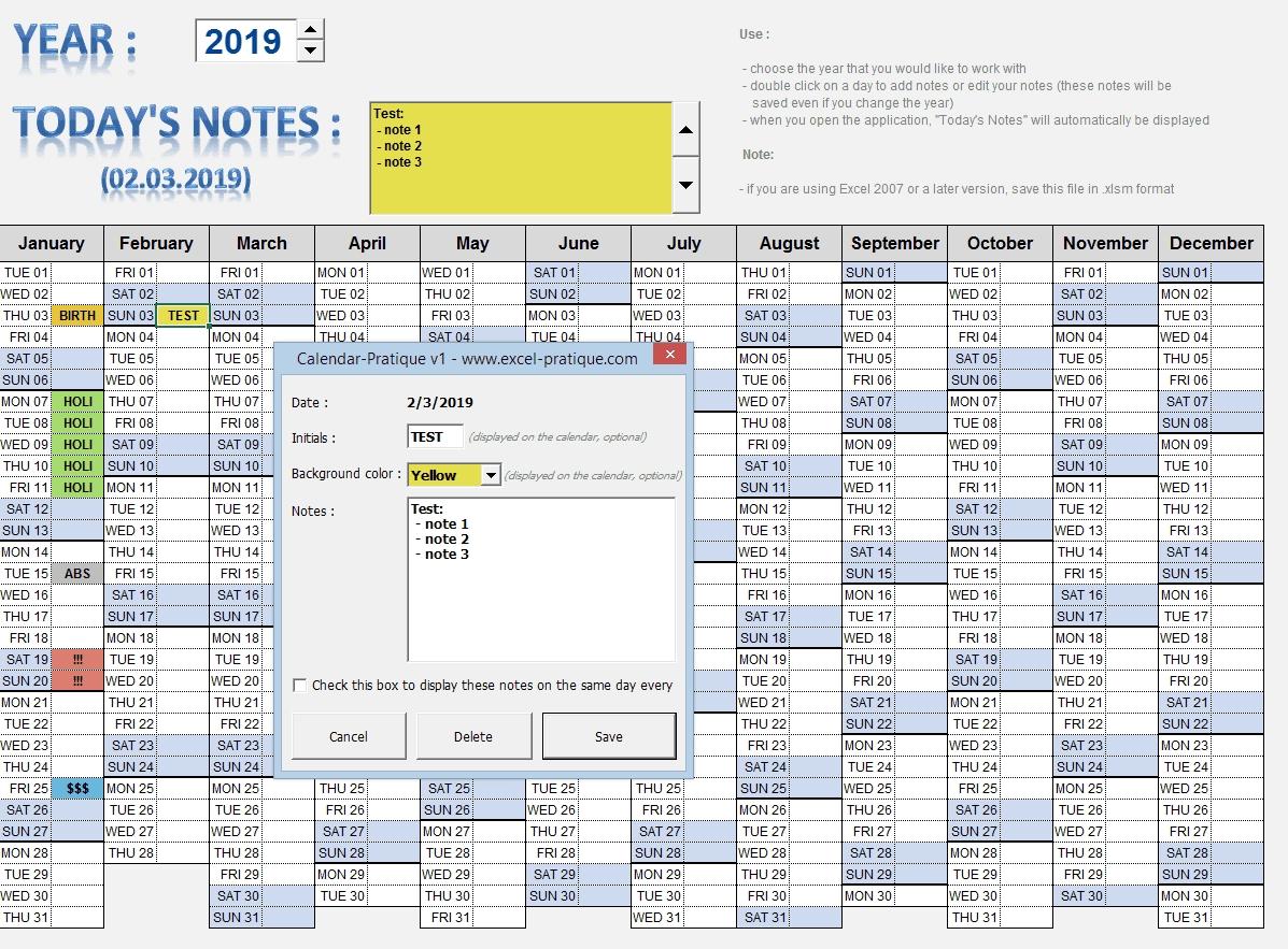 """Excel Applications """"calendars"""""""