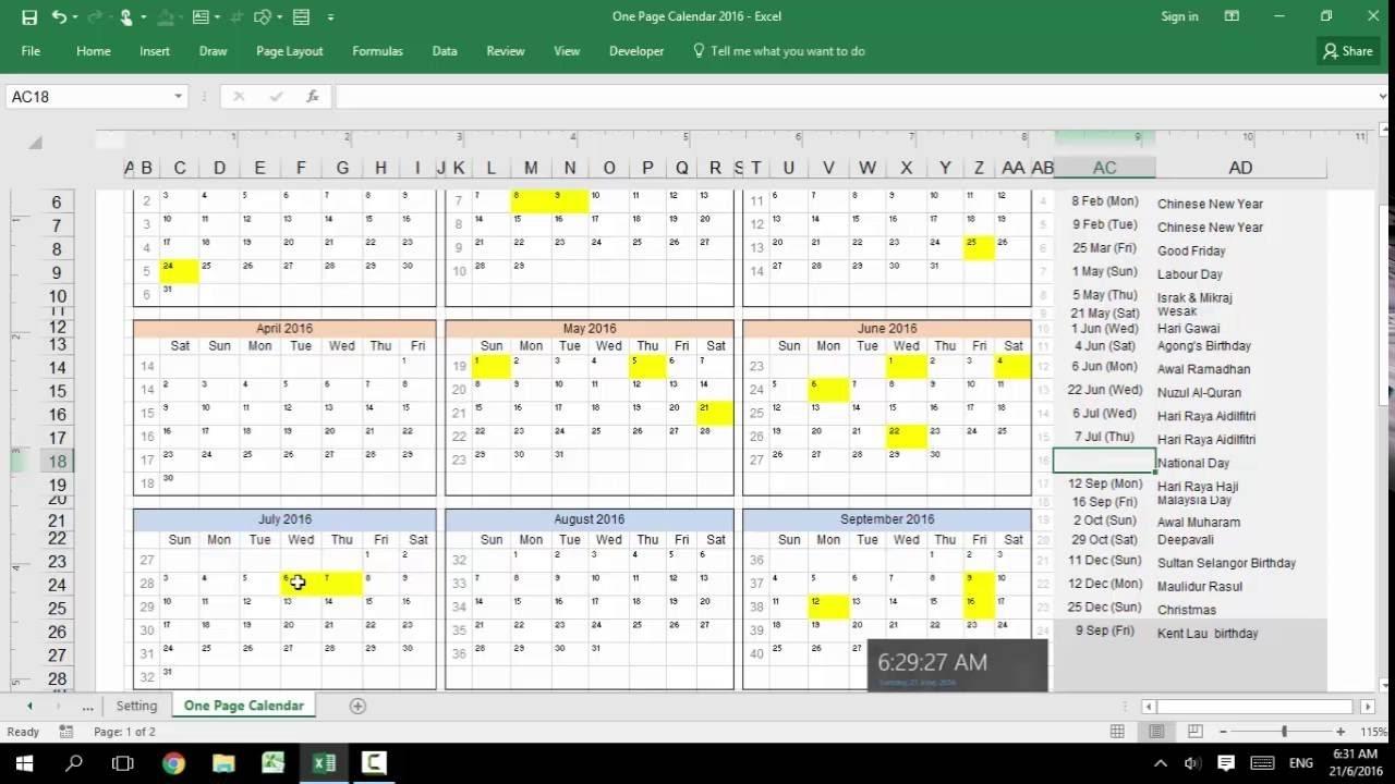 Excel - Customizable Calendar For Year 2016,2017, 2018, 2019, 2020