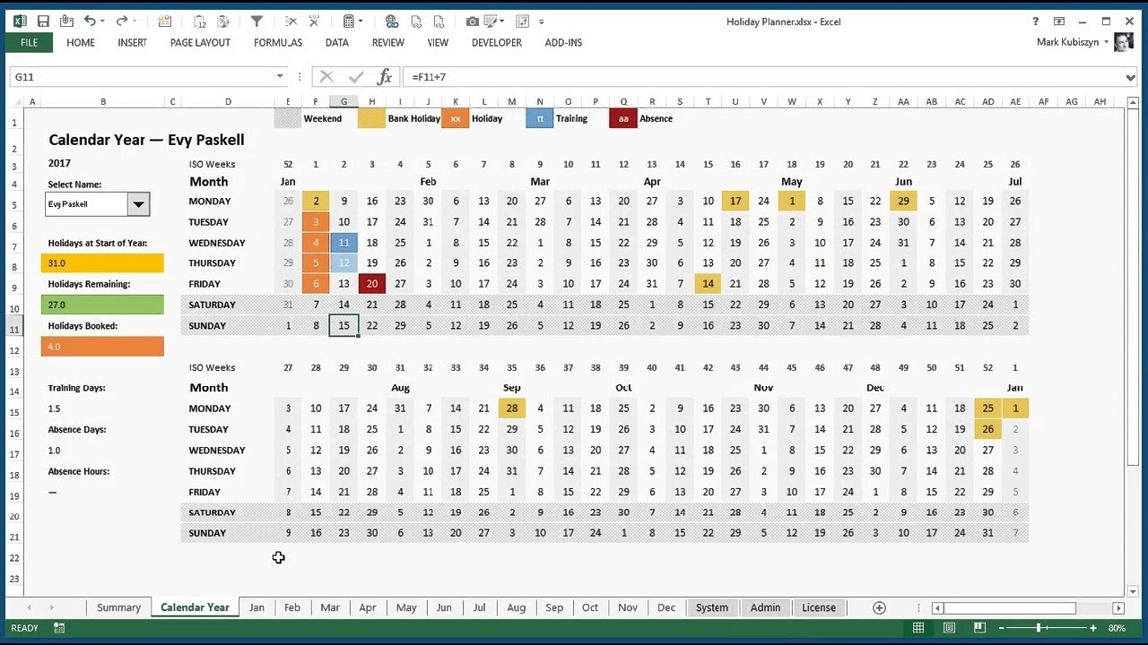 Excel Holiday, Training And Absence Planner For Excel