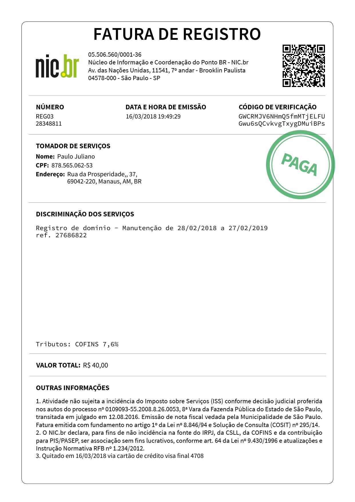 Fatura | Nome Empresarial, Francisco De Assis, Leonardo Moura