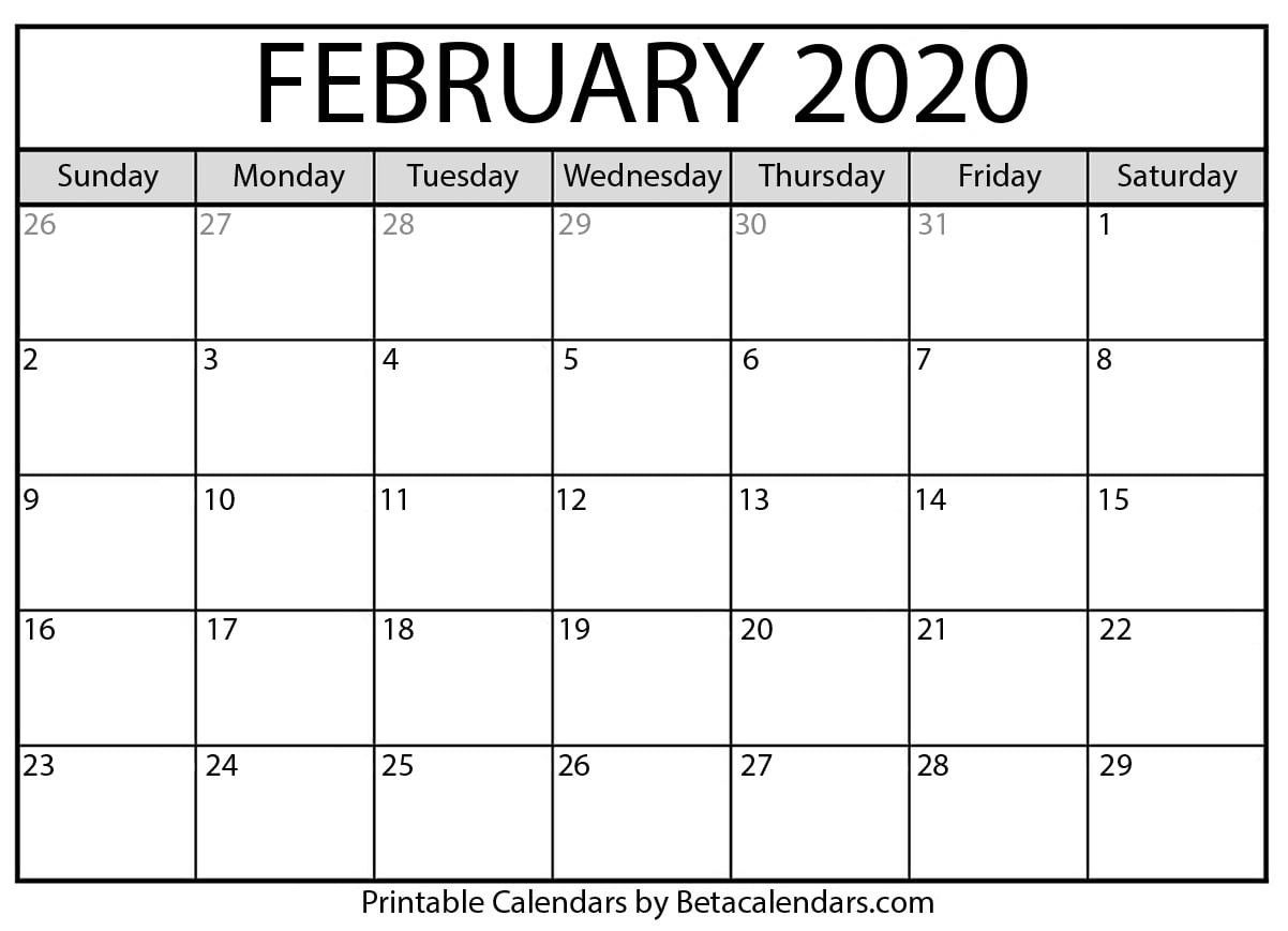 Feb 2020 Printable Calendar   Monthly Calendar Printable