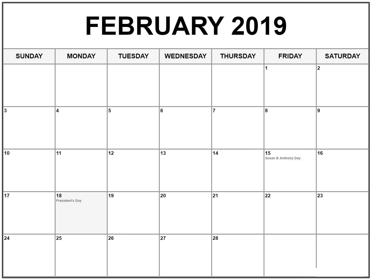 February 2019 Calendar With Holidays Dates (With Images