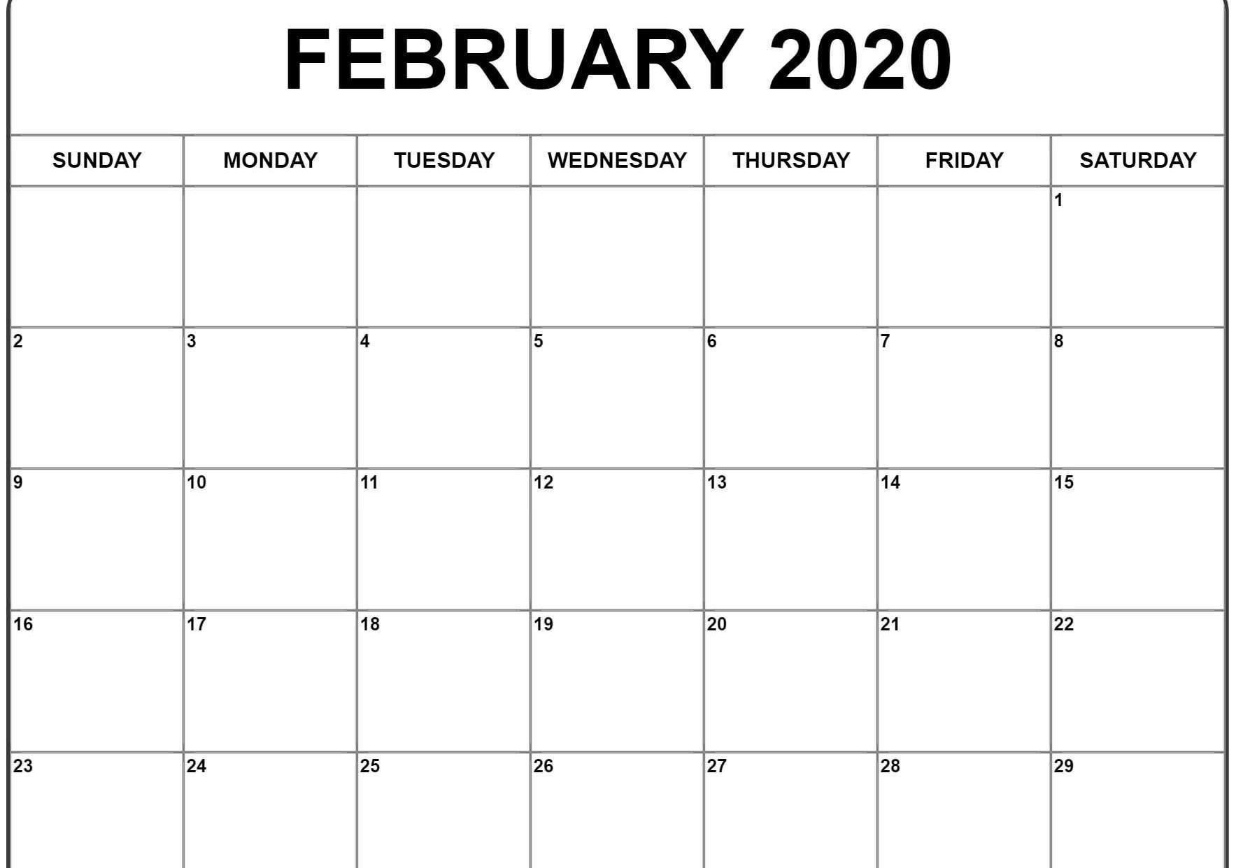 February 2020 Calendar Pdf, Word, Excel Printable Template