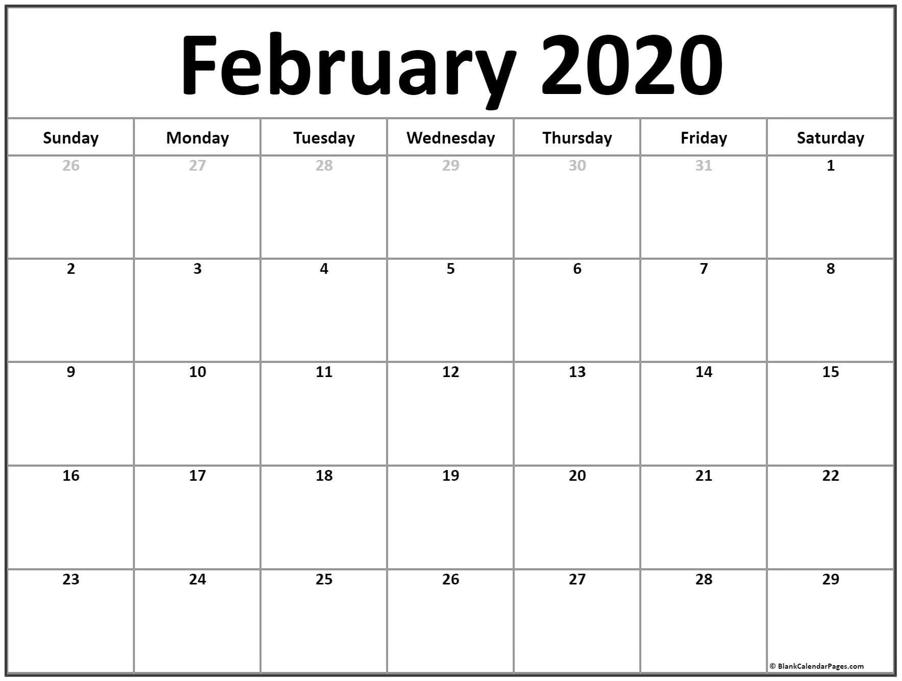 February 2020 Printable Calendar Free In 2020 (With Images