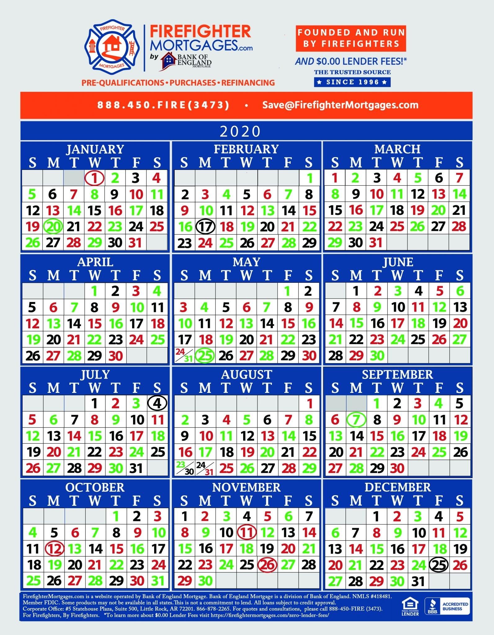 Firefighter Shift Calendars - Firefighter Mortgages®