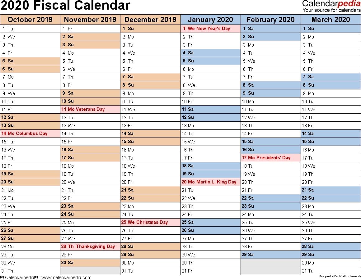 Fiscal Calendar 2019/2020 Free Printable - Calendar