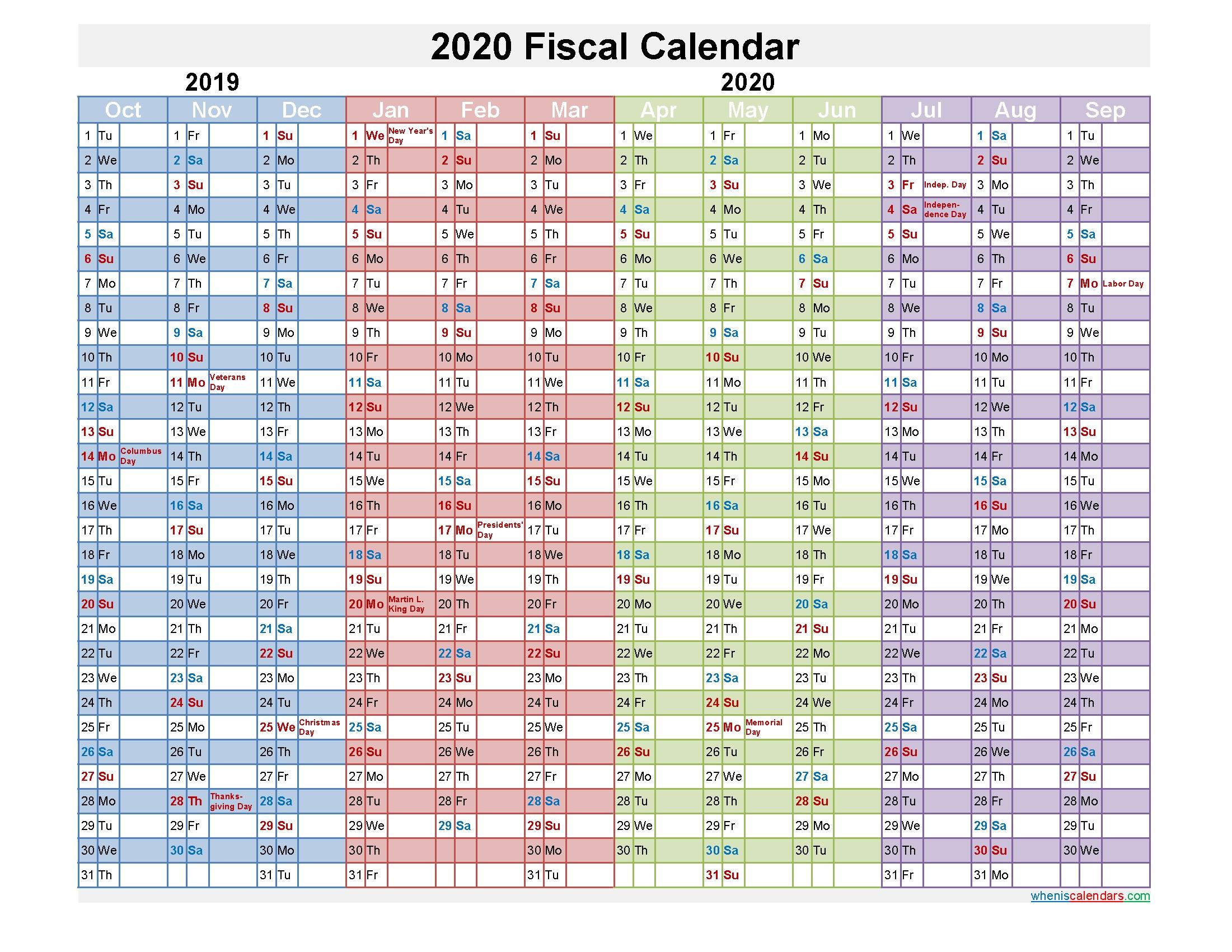 Fiscal Calendar 2020 Federal Fiscal Year - Template No