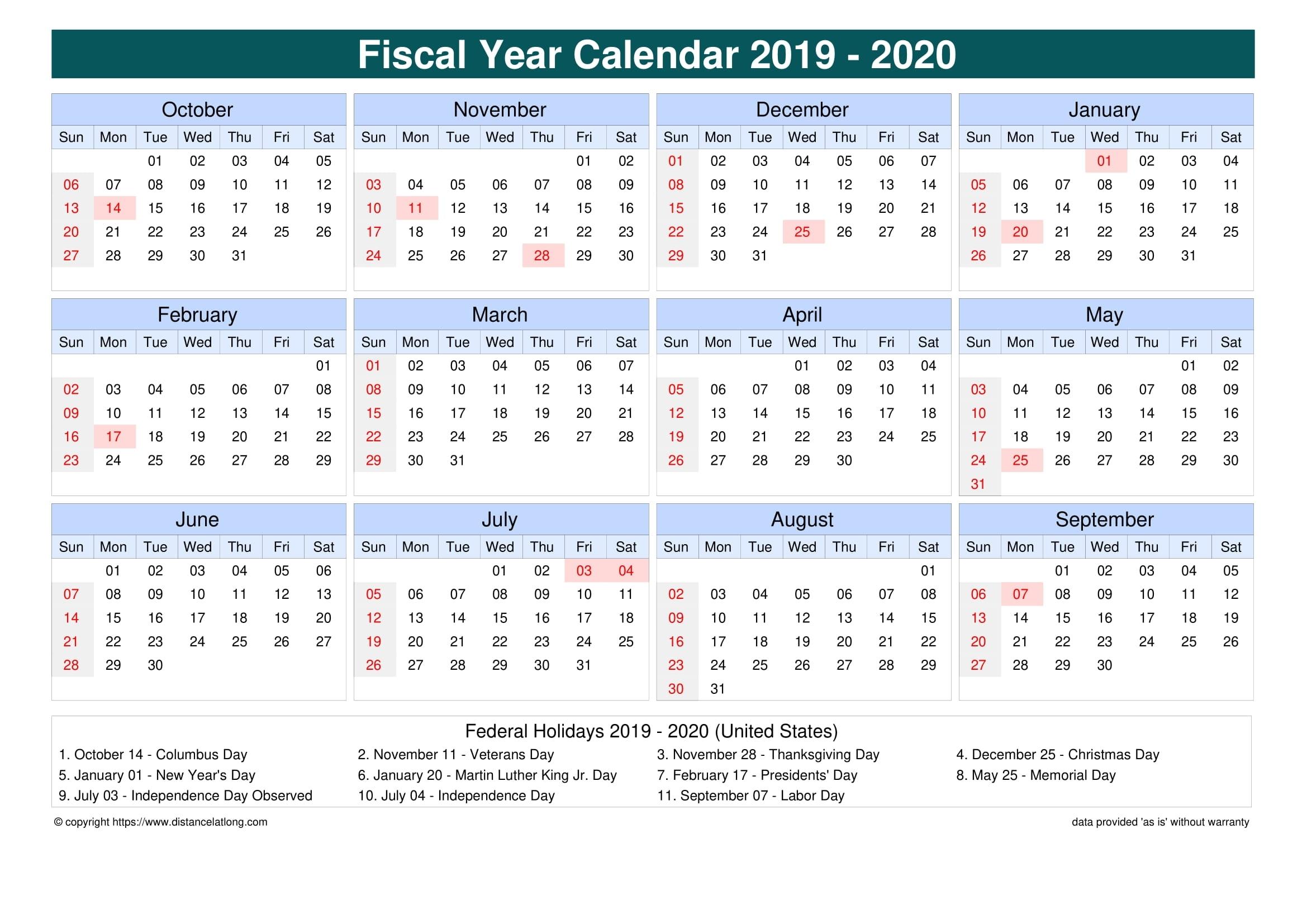 printable 2020 fiscal calendar