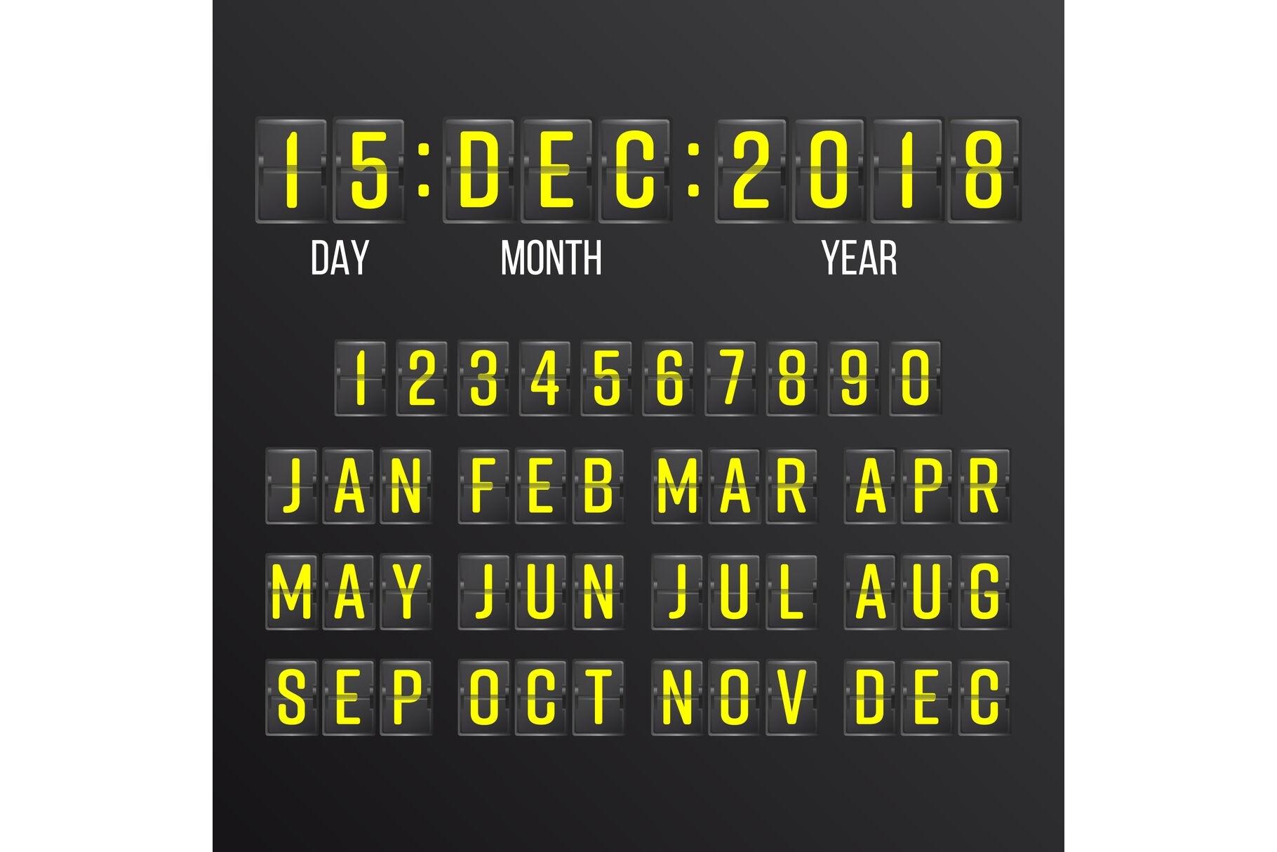 Flip Countdown Timer Vector. Black Flip Scoreboard Digital