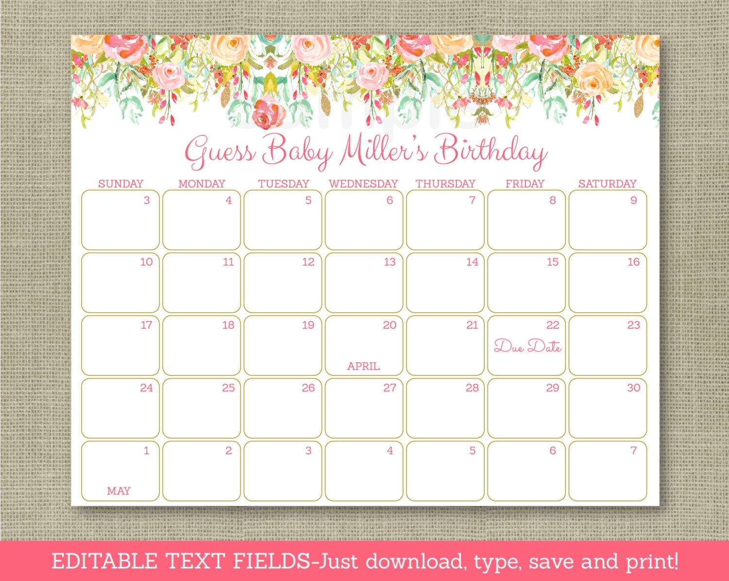Floral Baby Due Date Calendar / Floral Baby Shower / Gold Floral / Birthday  Predictions Calendar / Instant Download Editable Pdf A106