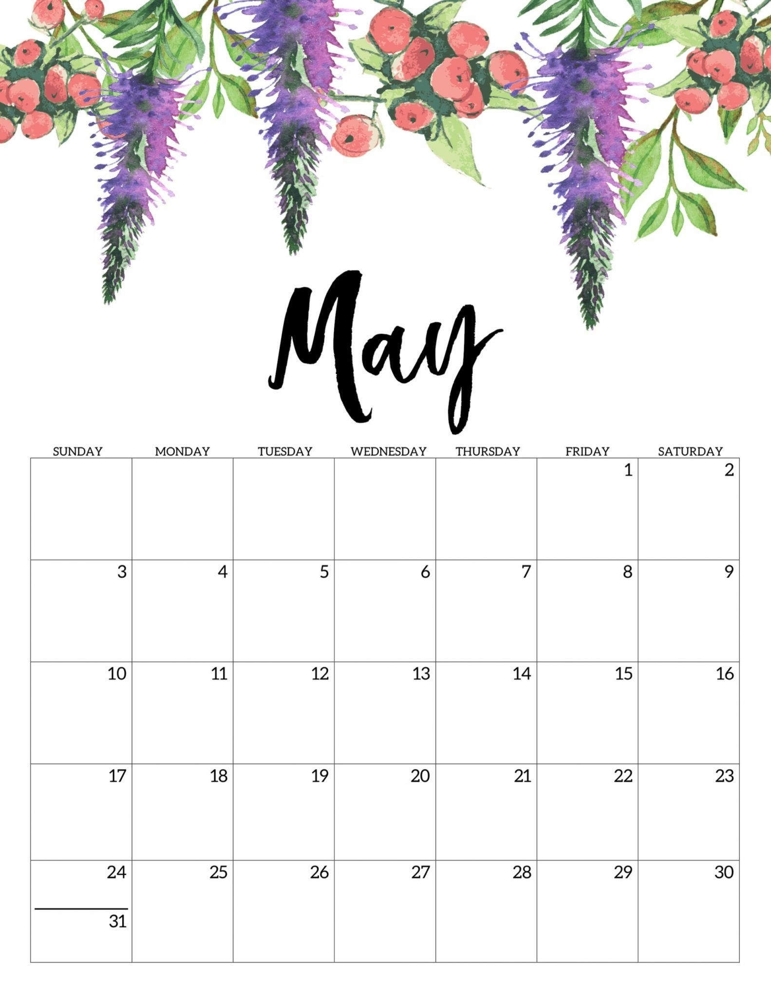 Floral May 2020 Calendar Cute Printable Template In 2020