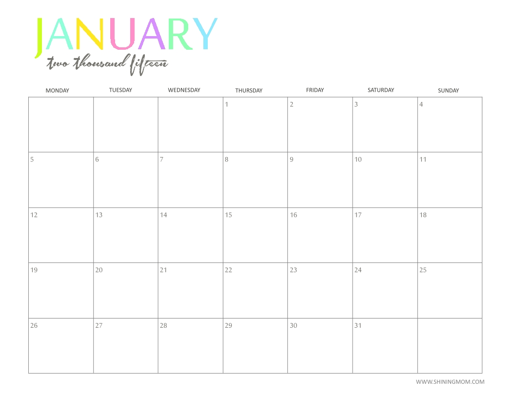 Free 2015 Printable Calendar By Shiningmom: Fun And