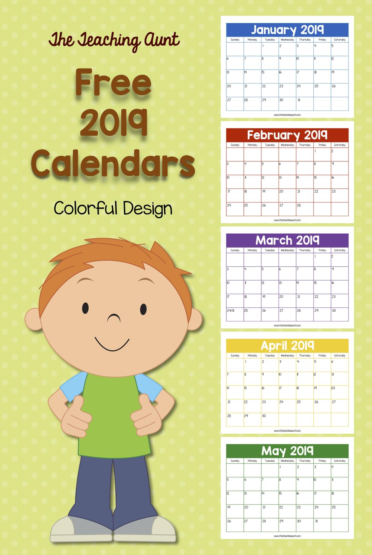 Free Colorful 2019 Calendar | Kids Calendar, Preschool