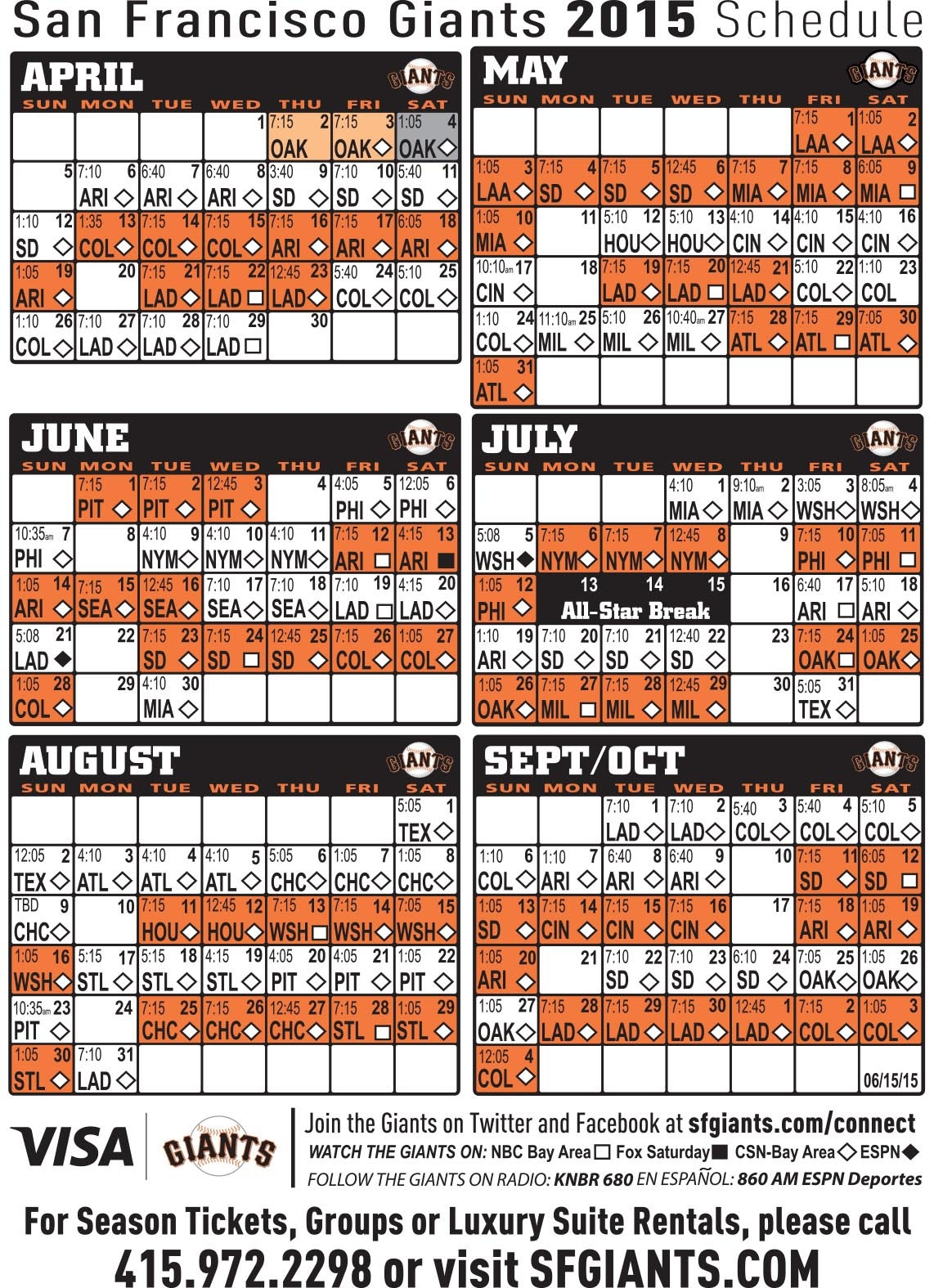 Free Download San Francisco Giants Tickets Schedule 2014
