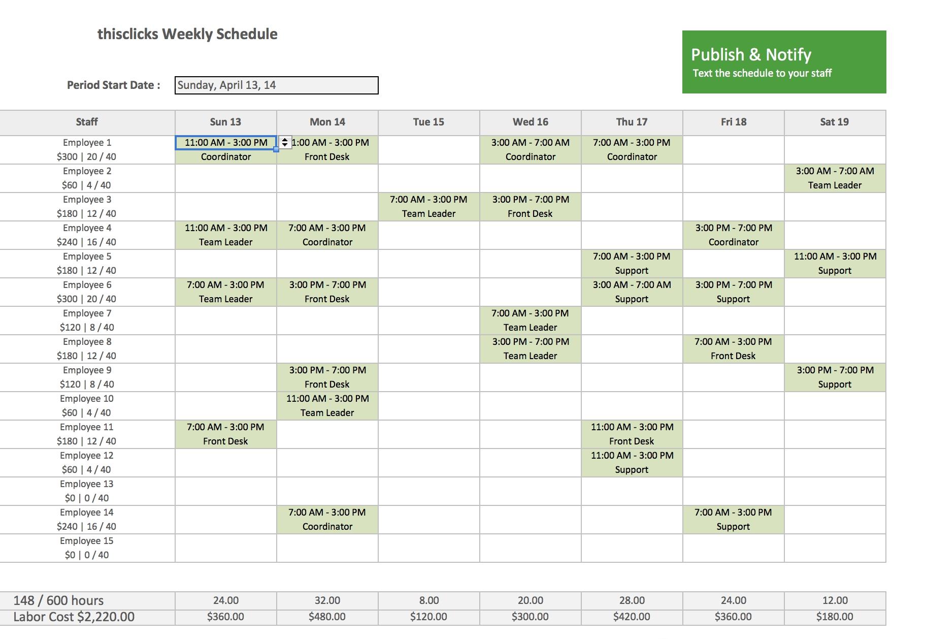 Free Excel Template Employee Scheduling Staff Schedule Work