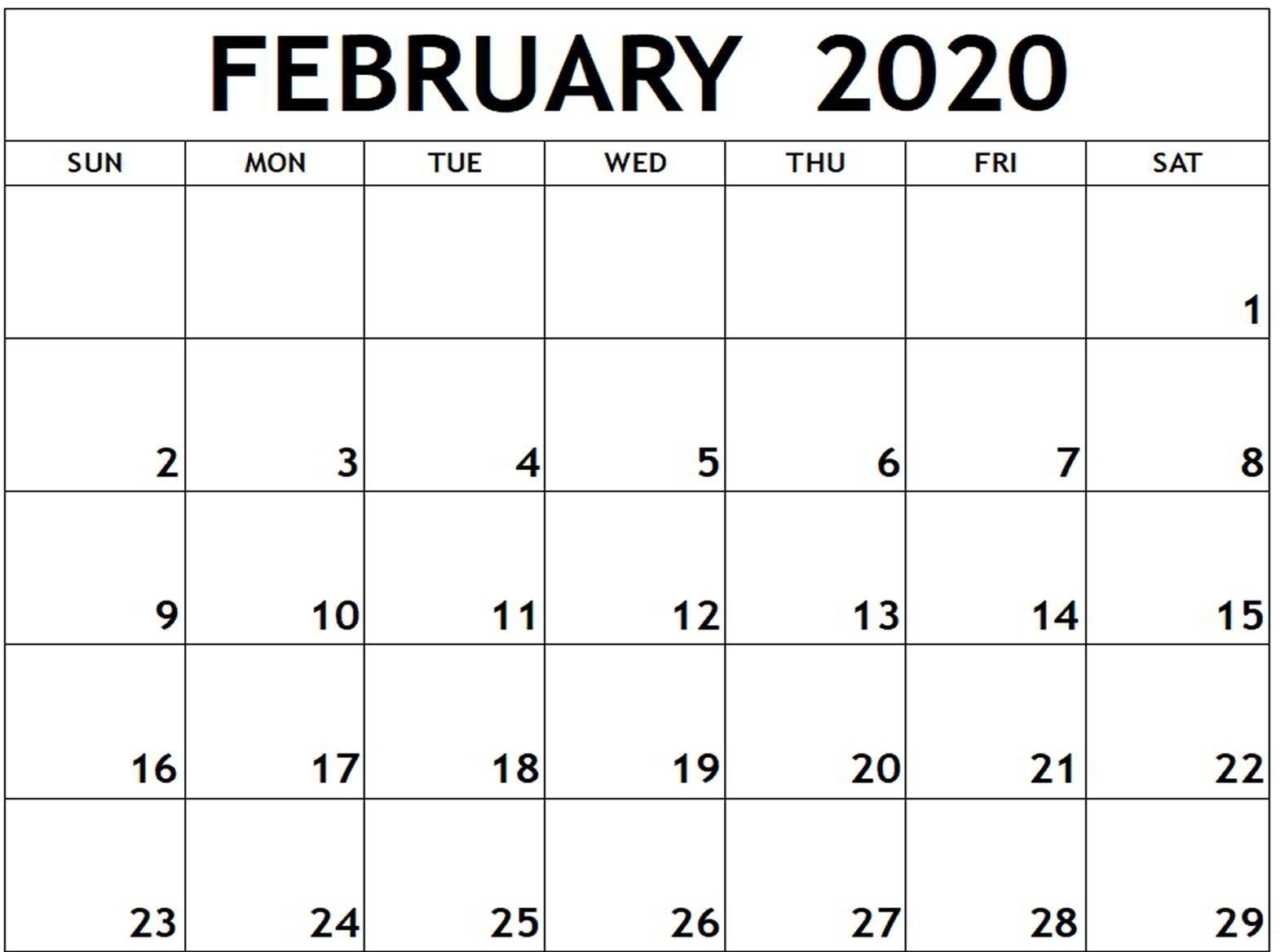 Free Fillable February Calendar 2020 Printable Editable With