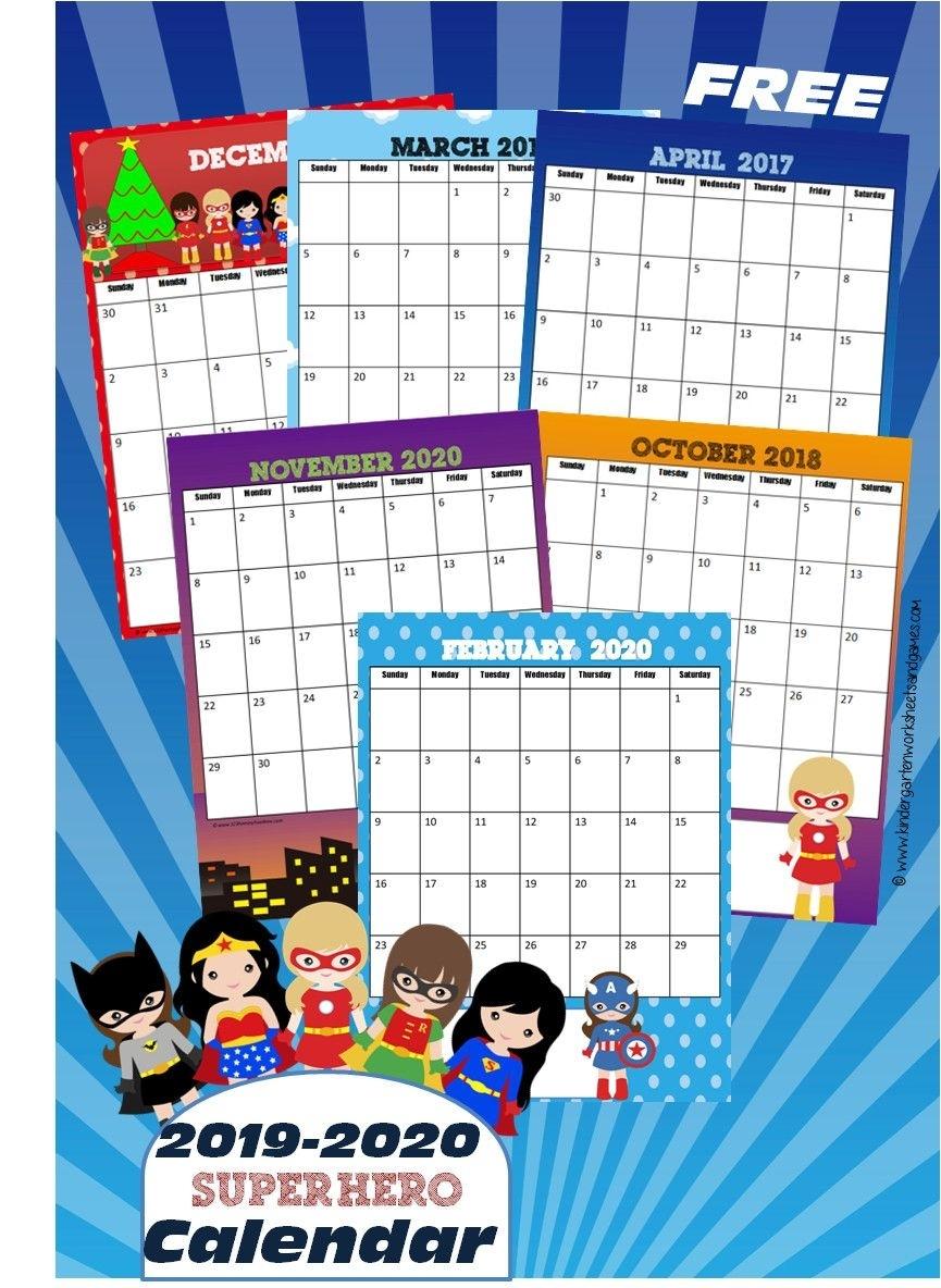 Free Girl Super Hero Printable Calendar 2019-2020 - Kids