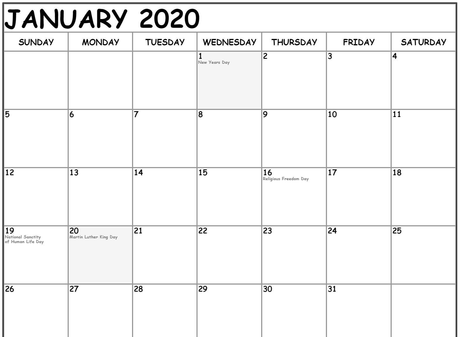 Free January Calendar 2020 Printable Template Download In
