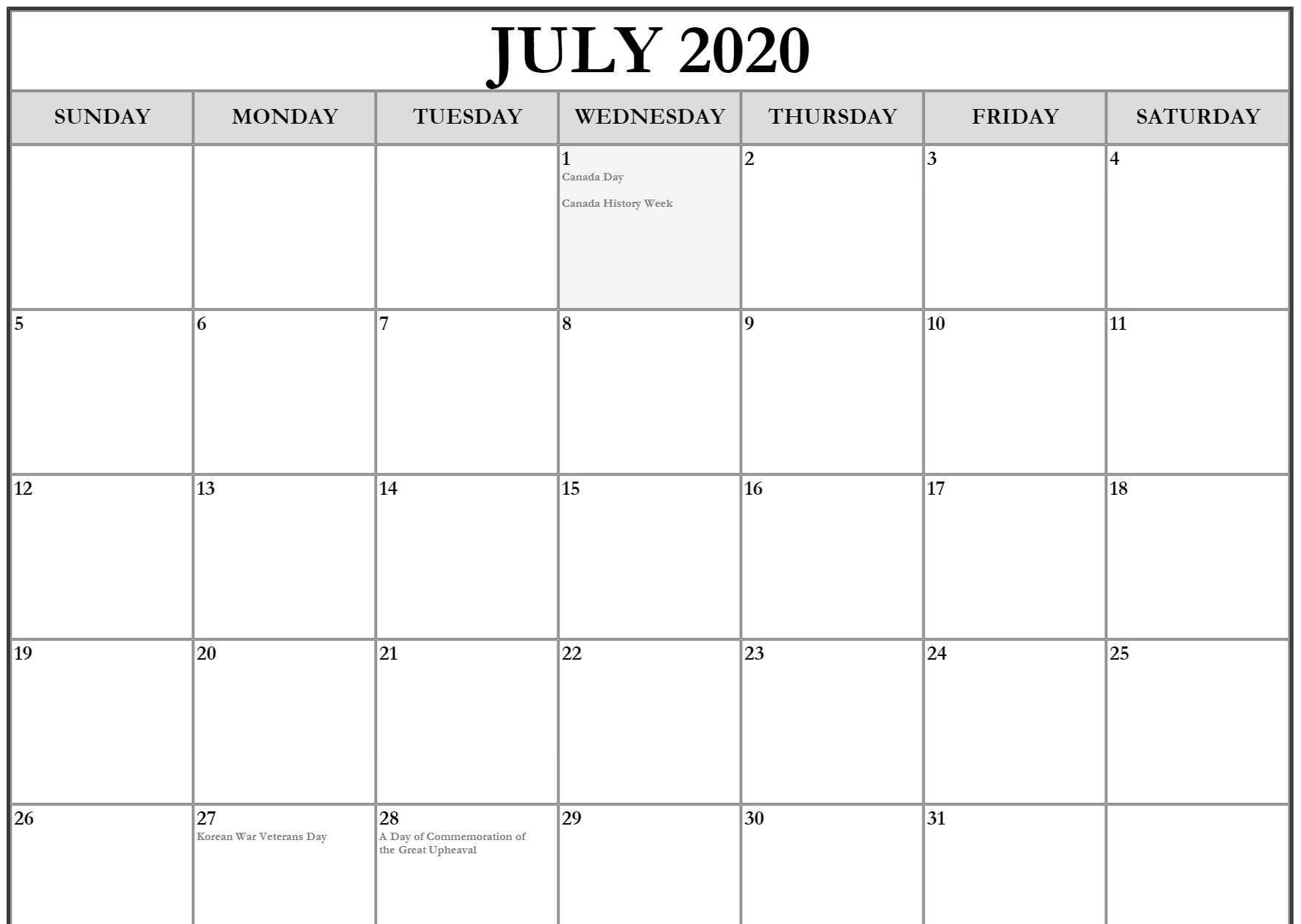 Free July Holidays 2020 Calendar Printable For Usa Uk Canada
