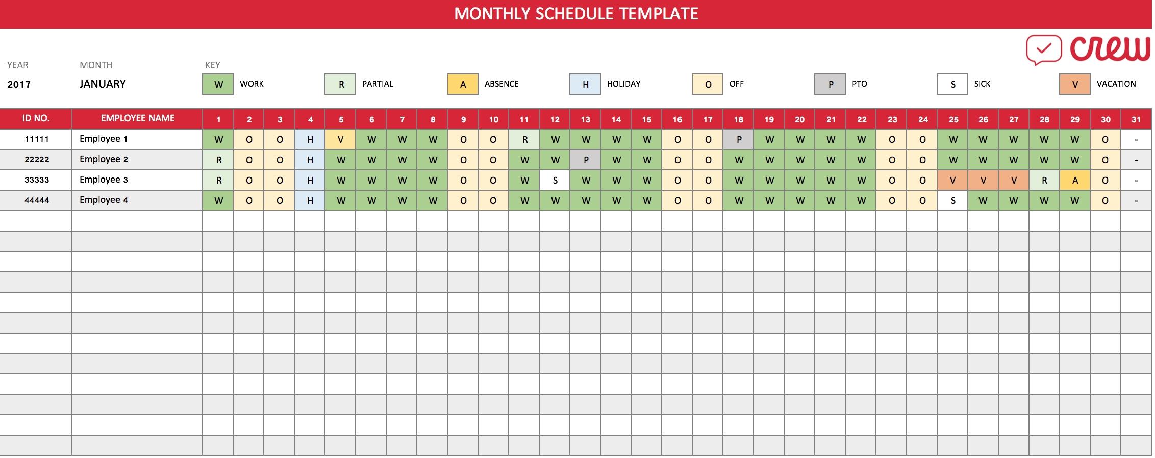 Free Monthly Work Schedule Template - Crew