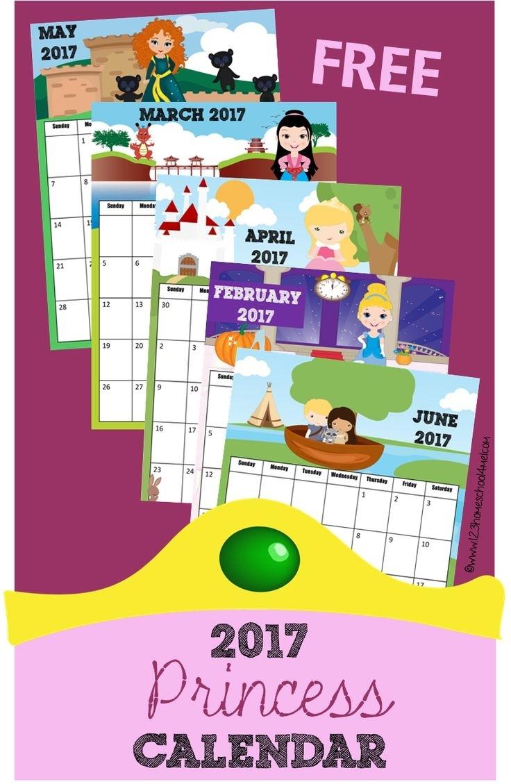 Free Princess Calendar 2019-2020 | Kids Calendar, Calendar
