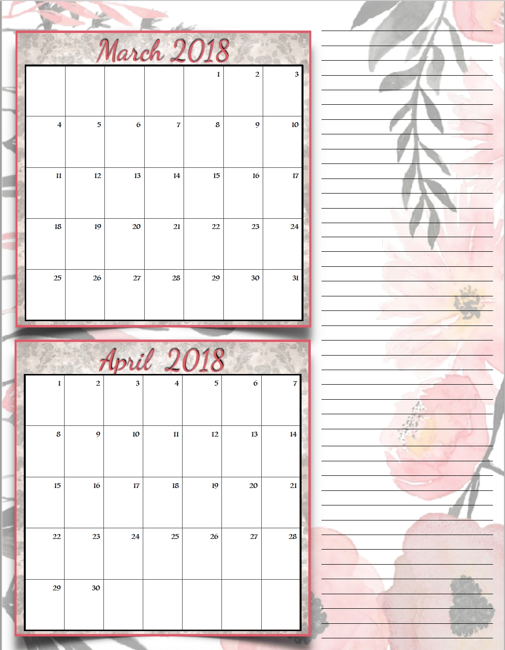 Free Printable 2018 Bimonthly Calendars: 6 Designs