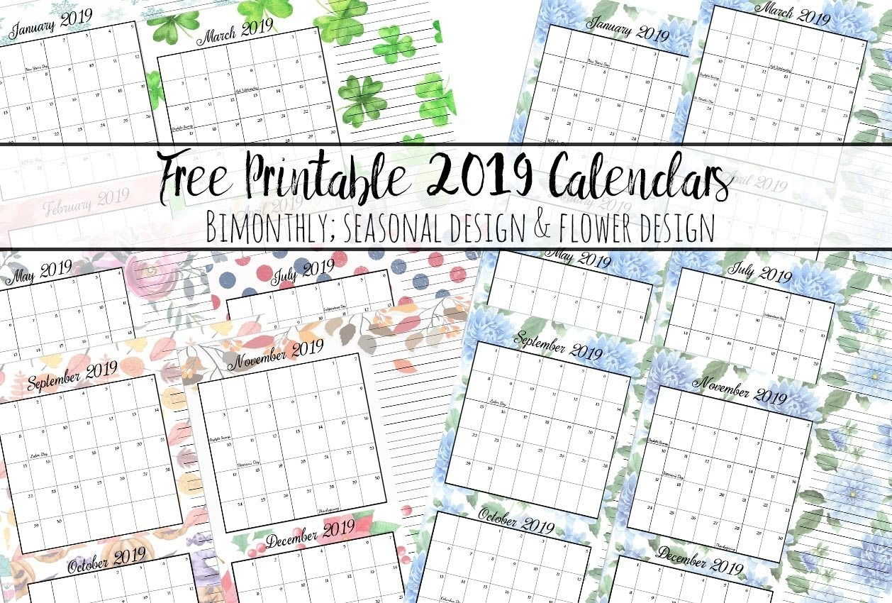 Free Printable 2019 Bimonthly Calendars: 2 Designs