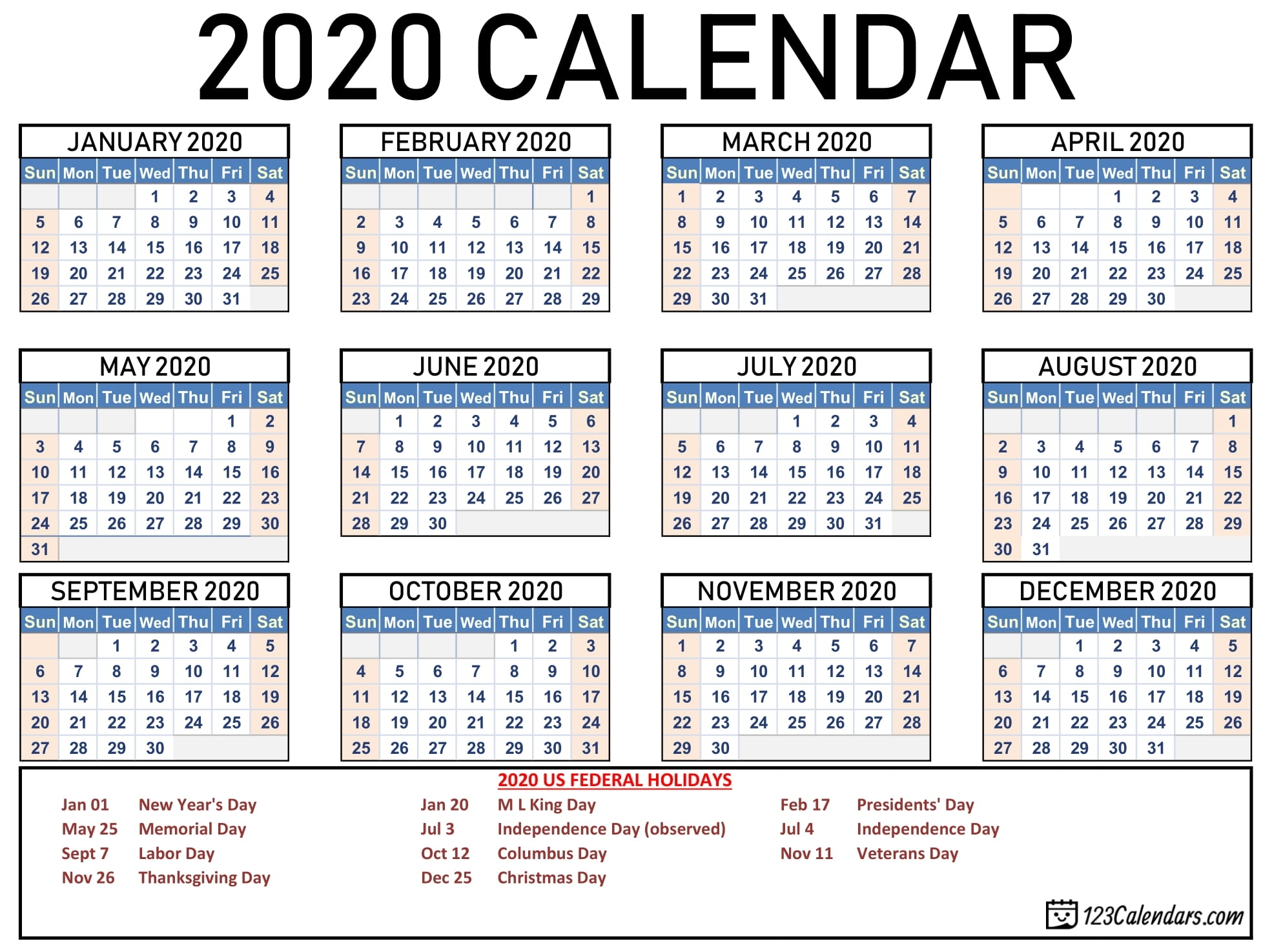 Free Printable 2020 Calendar   123Calendars