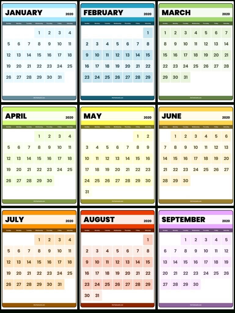 Free Printable 2020 Calendar - Esl Flashcards