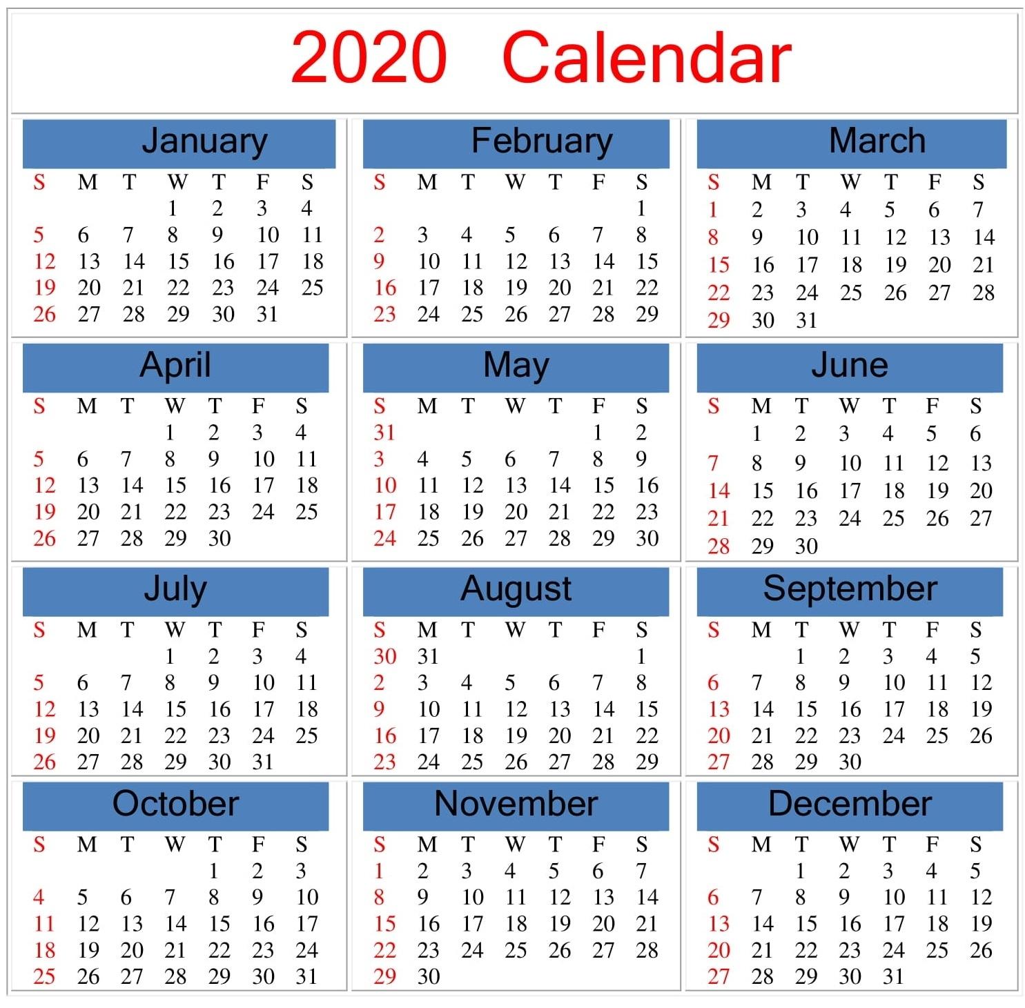 Free Printable 2020 Calendar Word Document - Latest