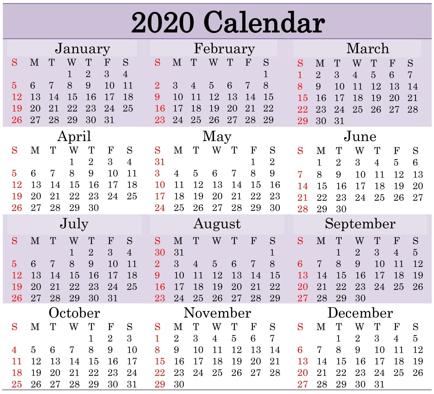 Free Printable 2020 Calendar Word Document - Latest