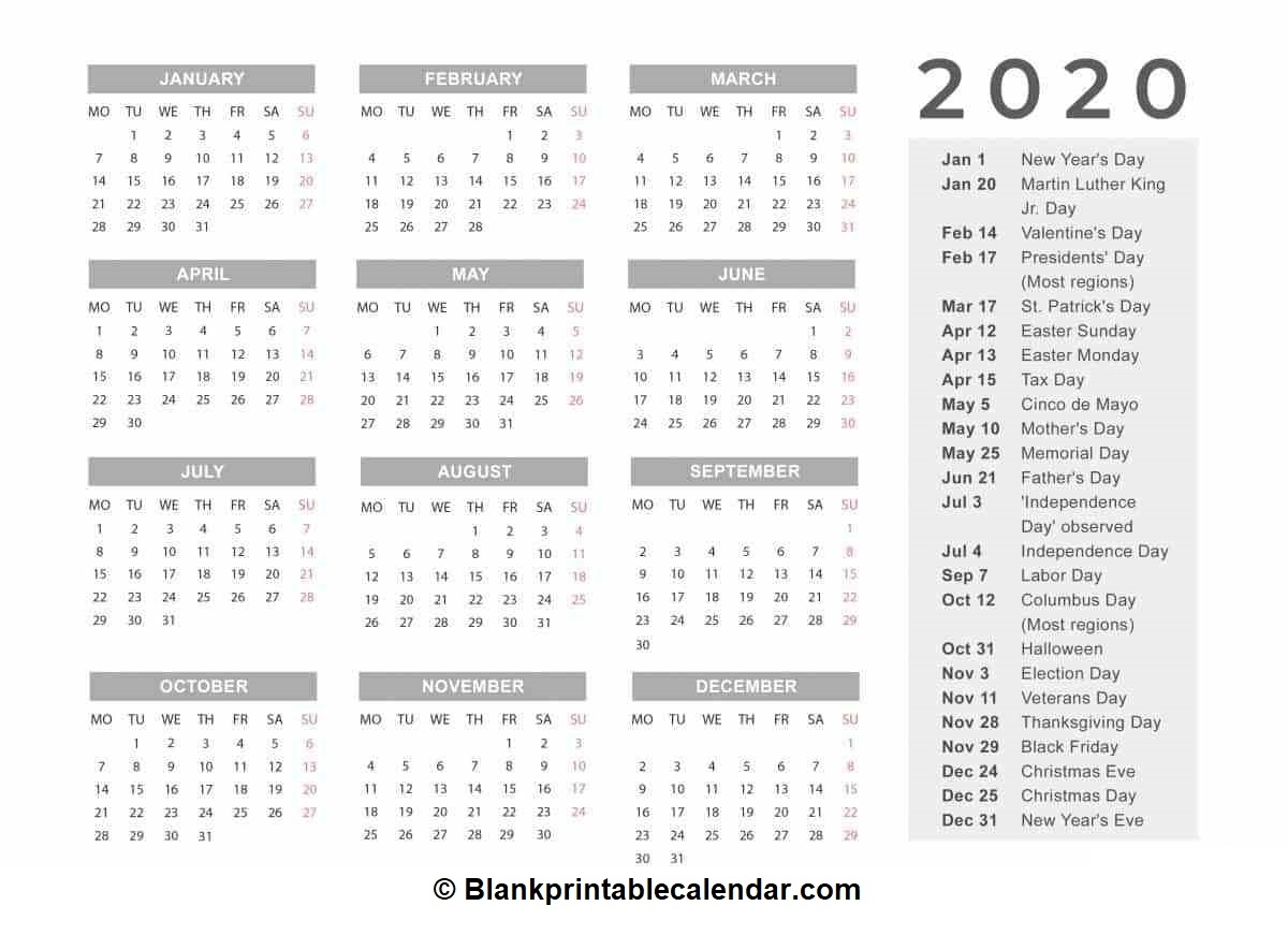 Free Printable 2020 Calendar Monthly And Yearly Templates