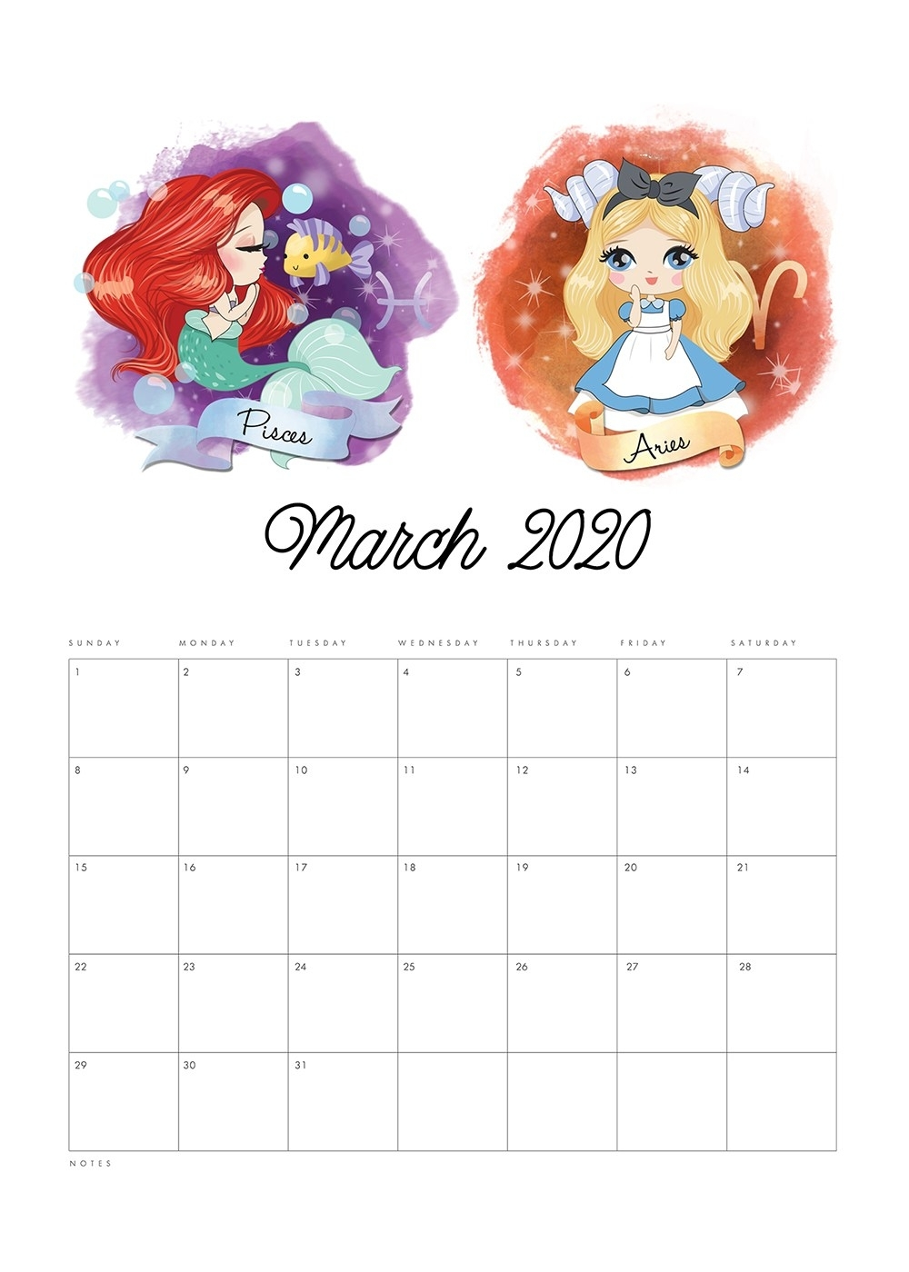 Free Printable 2020 Princess Zodiac Calendar - The Cottage