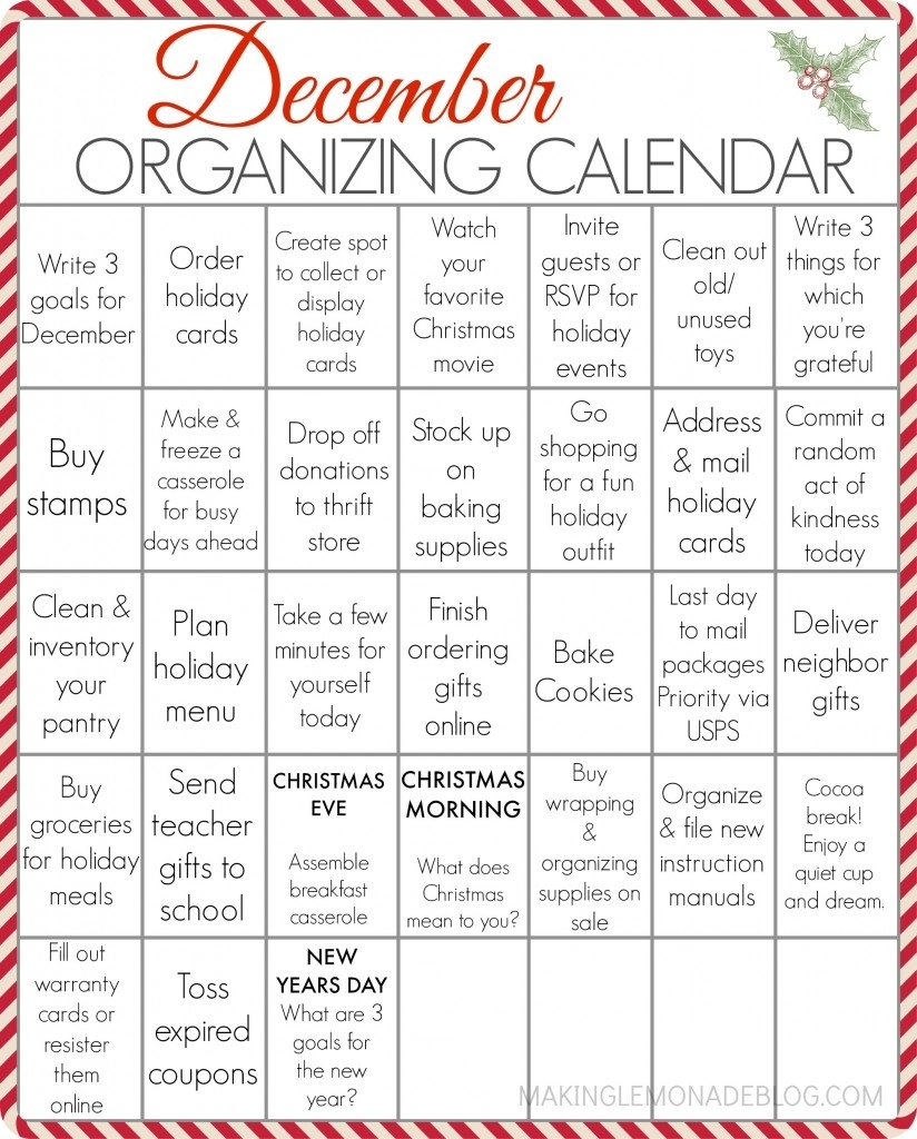 Free Printable December Organizing Calendar | Making Lemonade