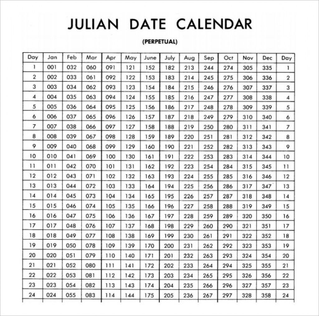 Free Printable Julian Calendar 2020 Blank Template (With