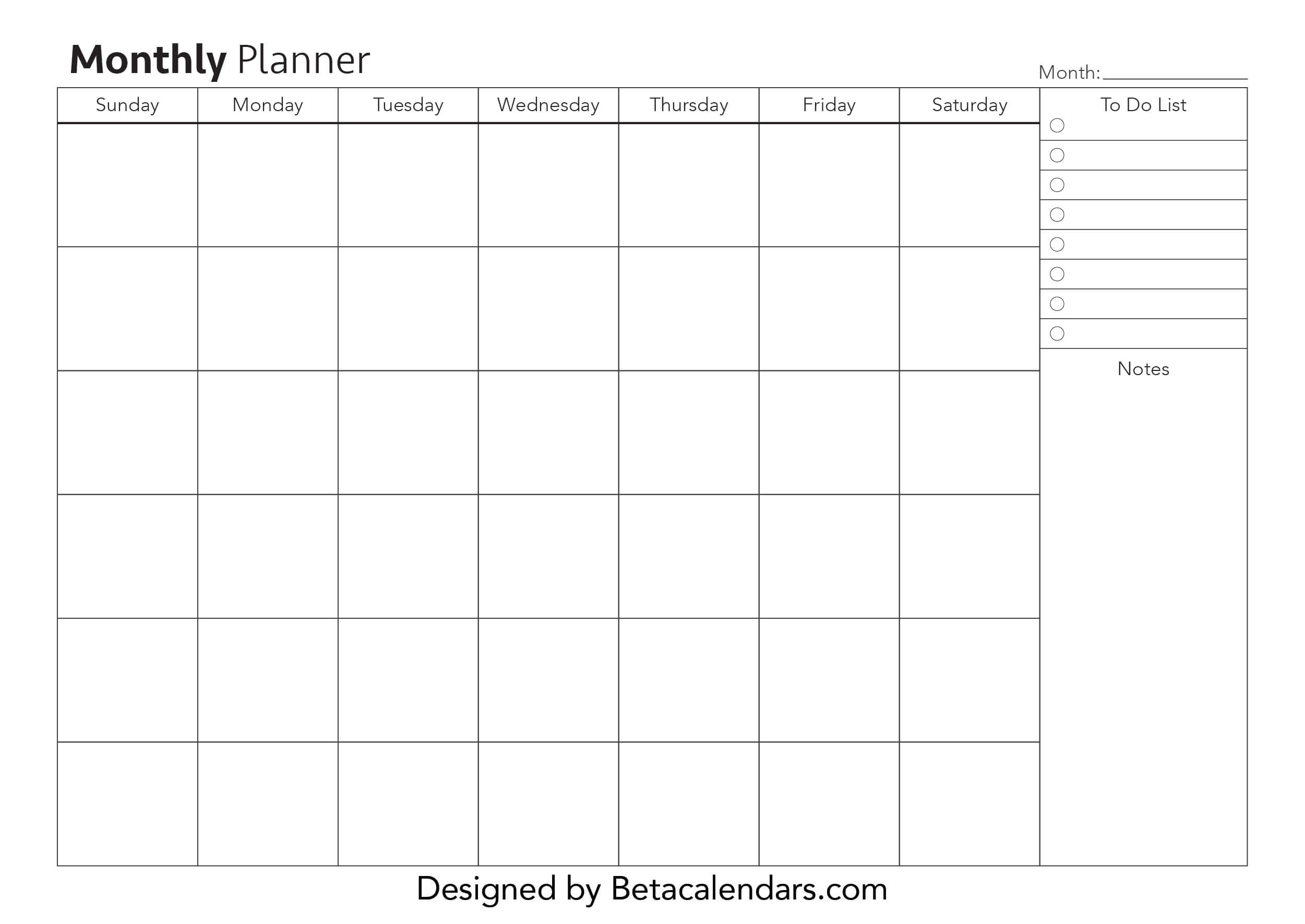 Free Printable Monthly Planner - Beta Calendars