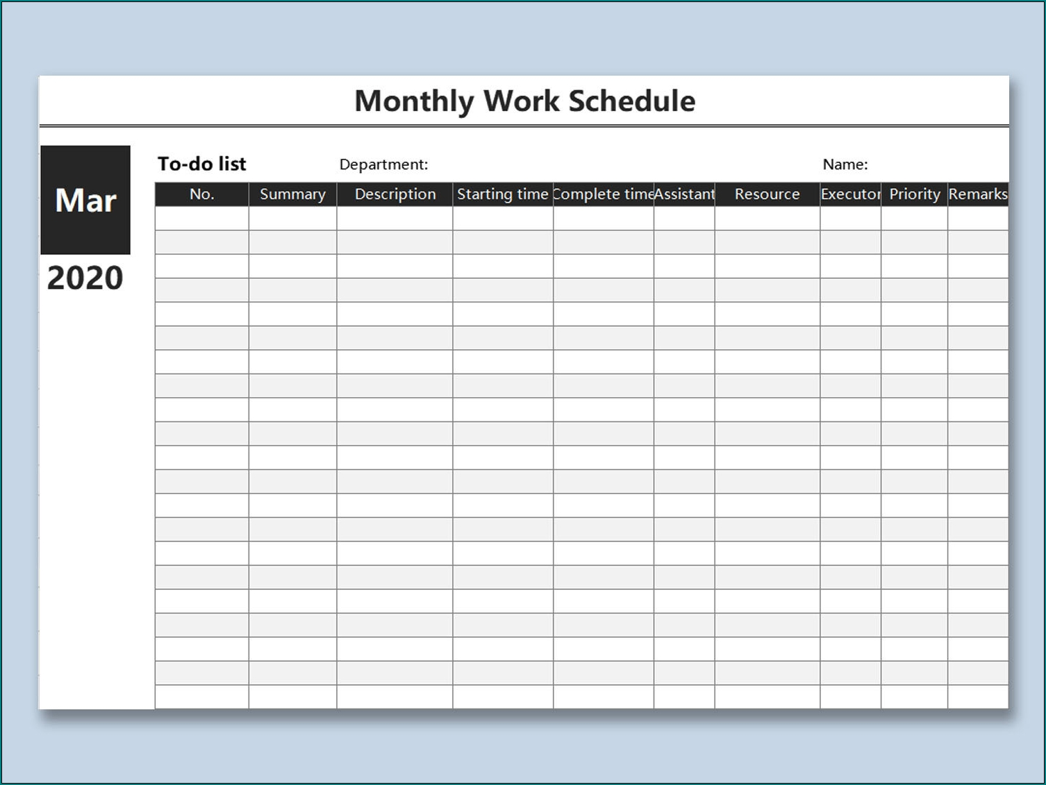 Free Printable Monthly Work Schedule Template Excel | Bogiolo