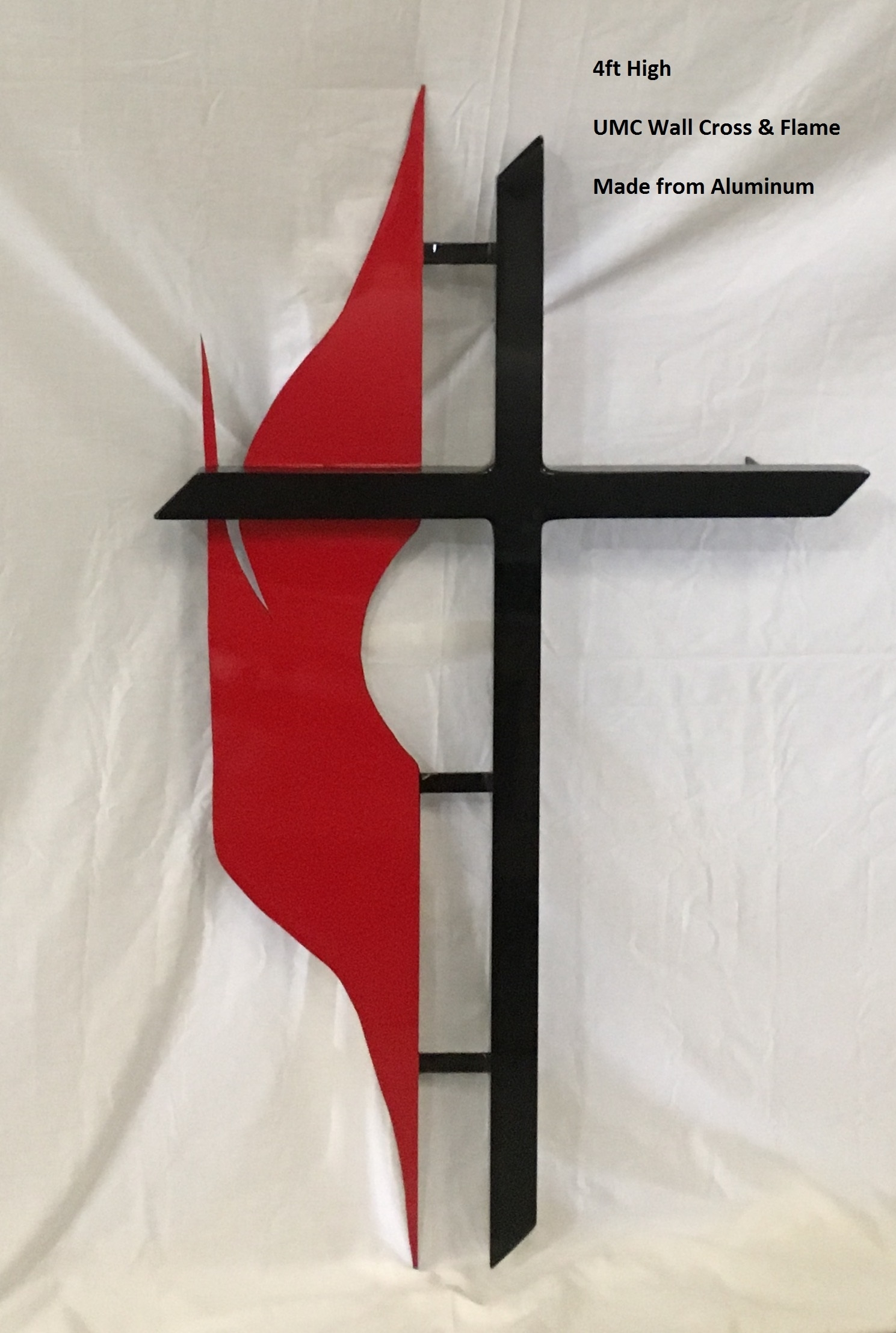 Free Standing Methodist Cross & Flame | Southeast Church Supply