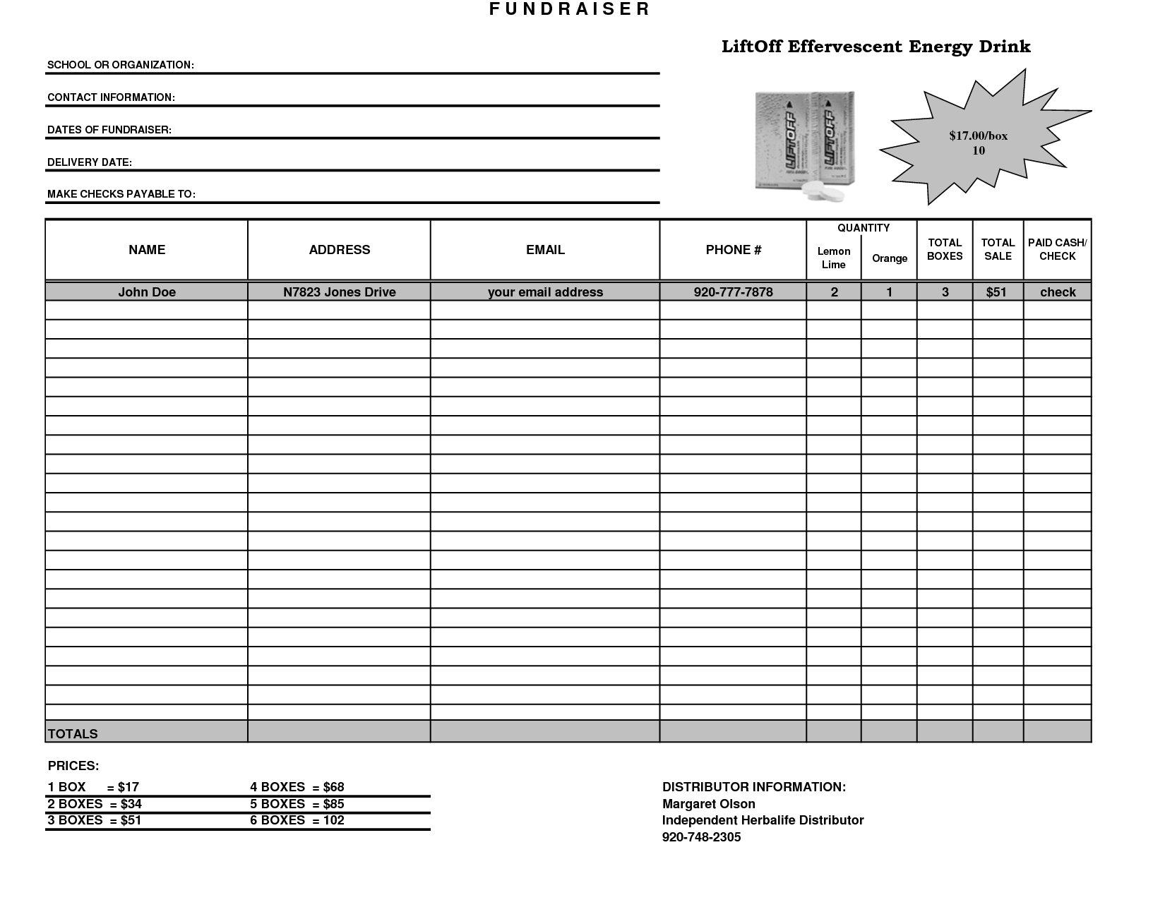 Fundraiser Template Excel Fundraiser Order Form Template