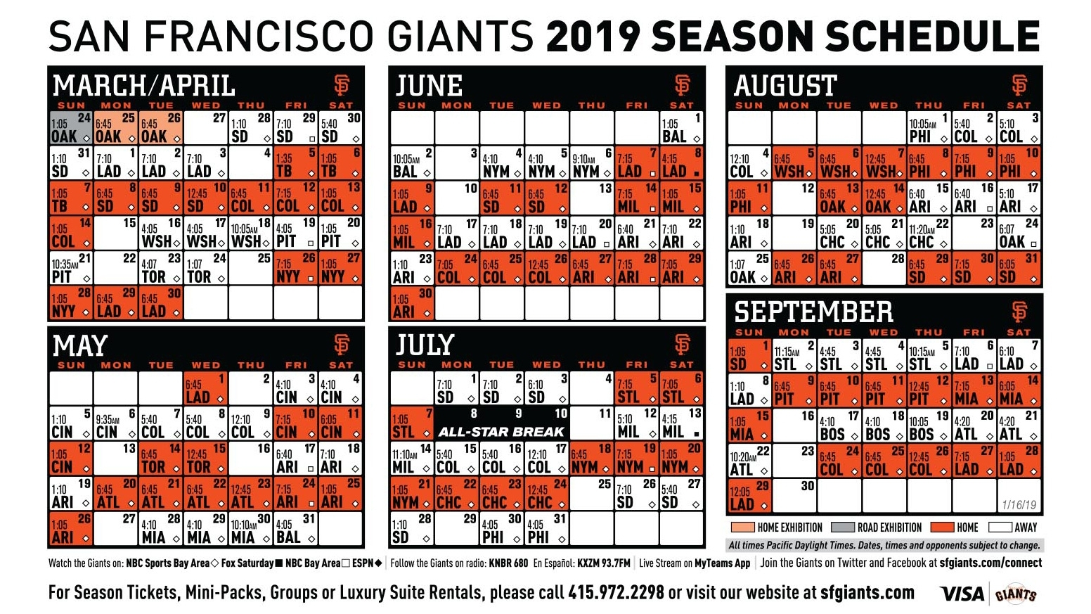 Giants 2019 Printable Schedule | San Francisco Giants