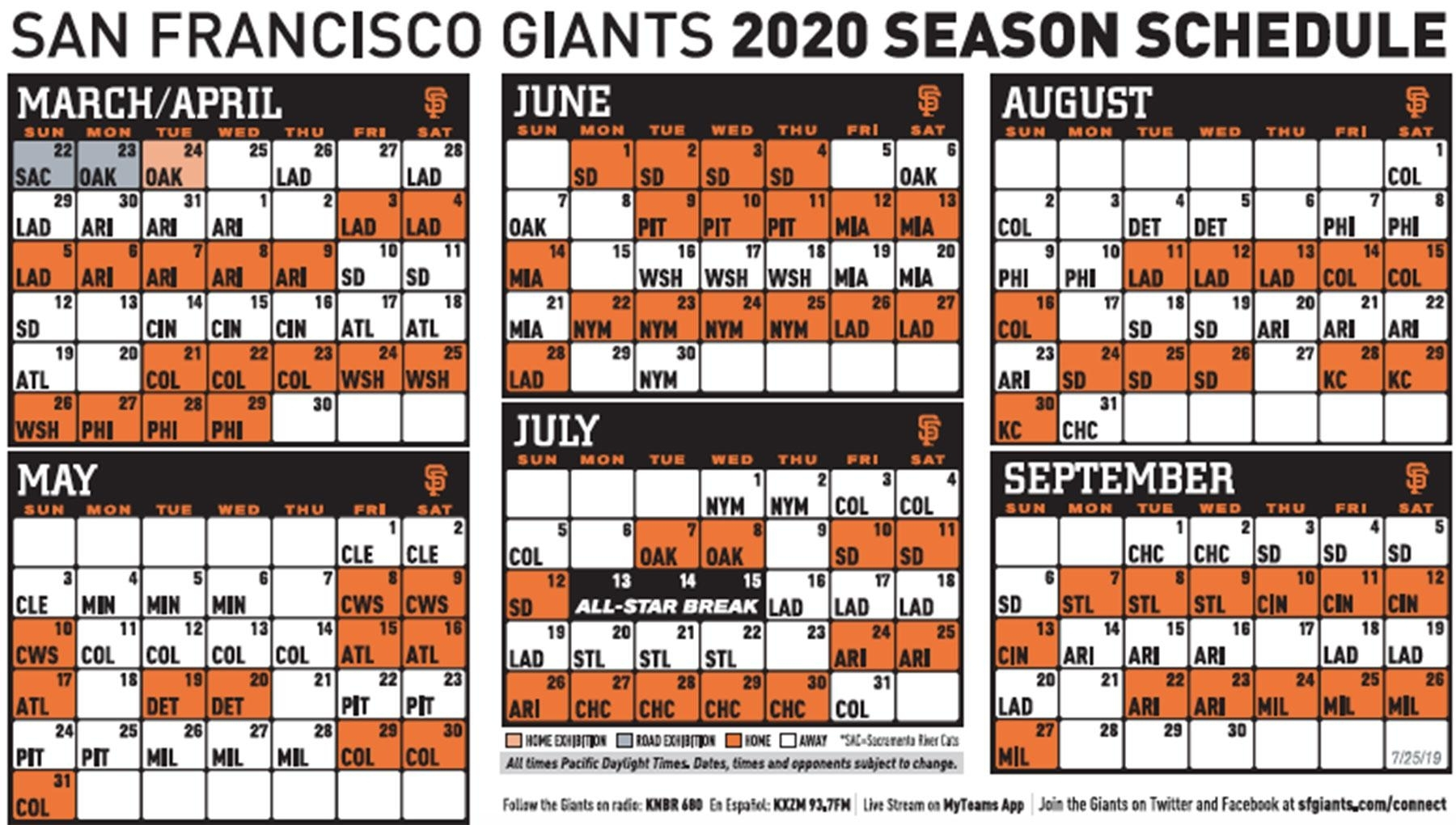 Giants Release 2020 Schedule, Which Includes Two Openers