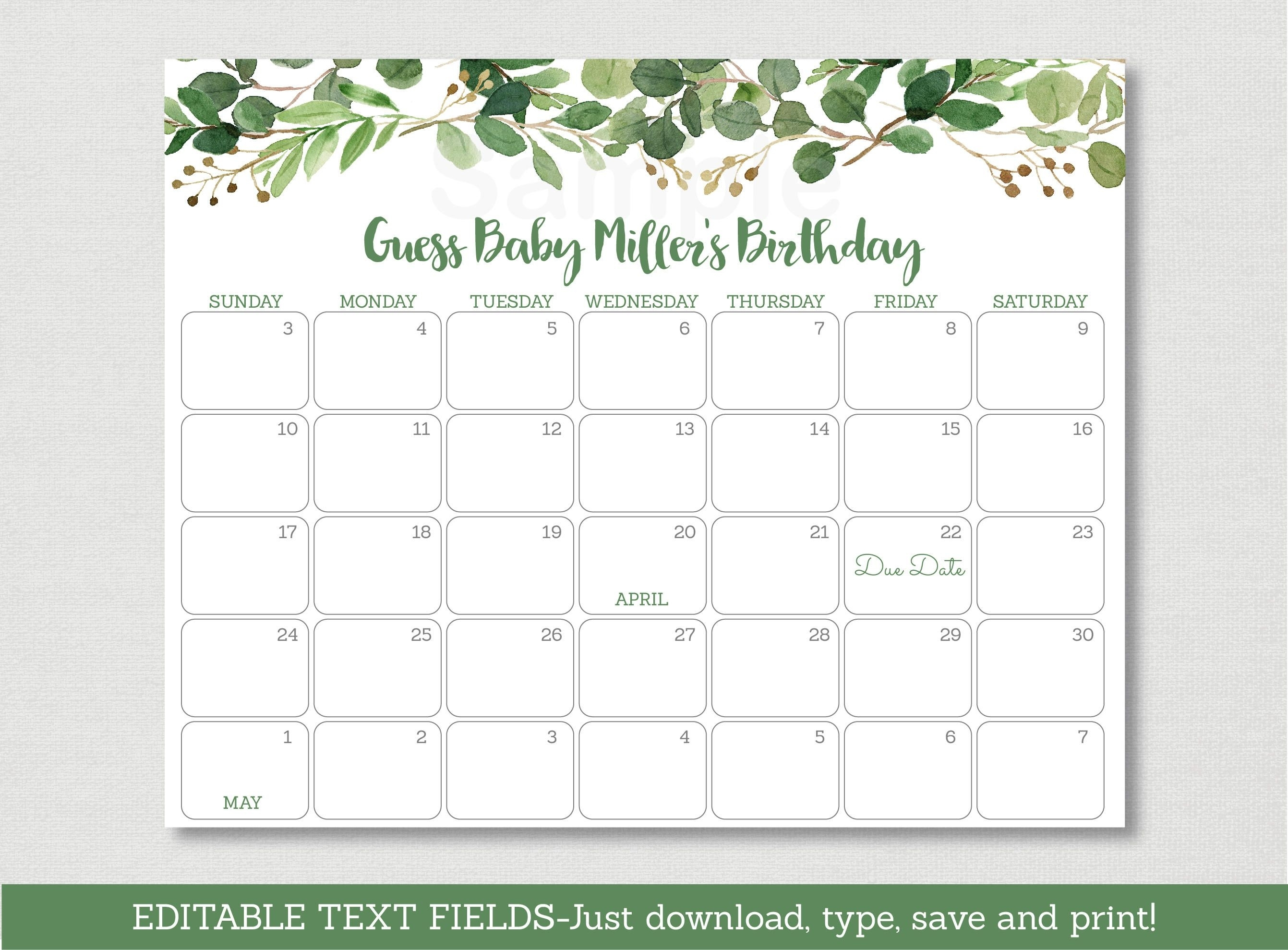 Green Floral Baby Due Date Calendar / Floral Baby Shower