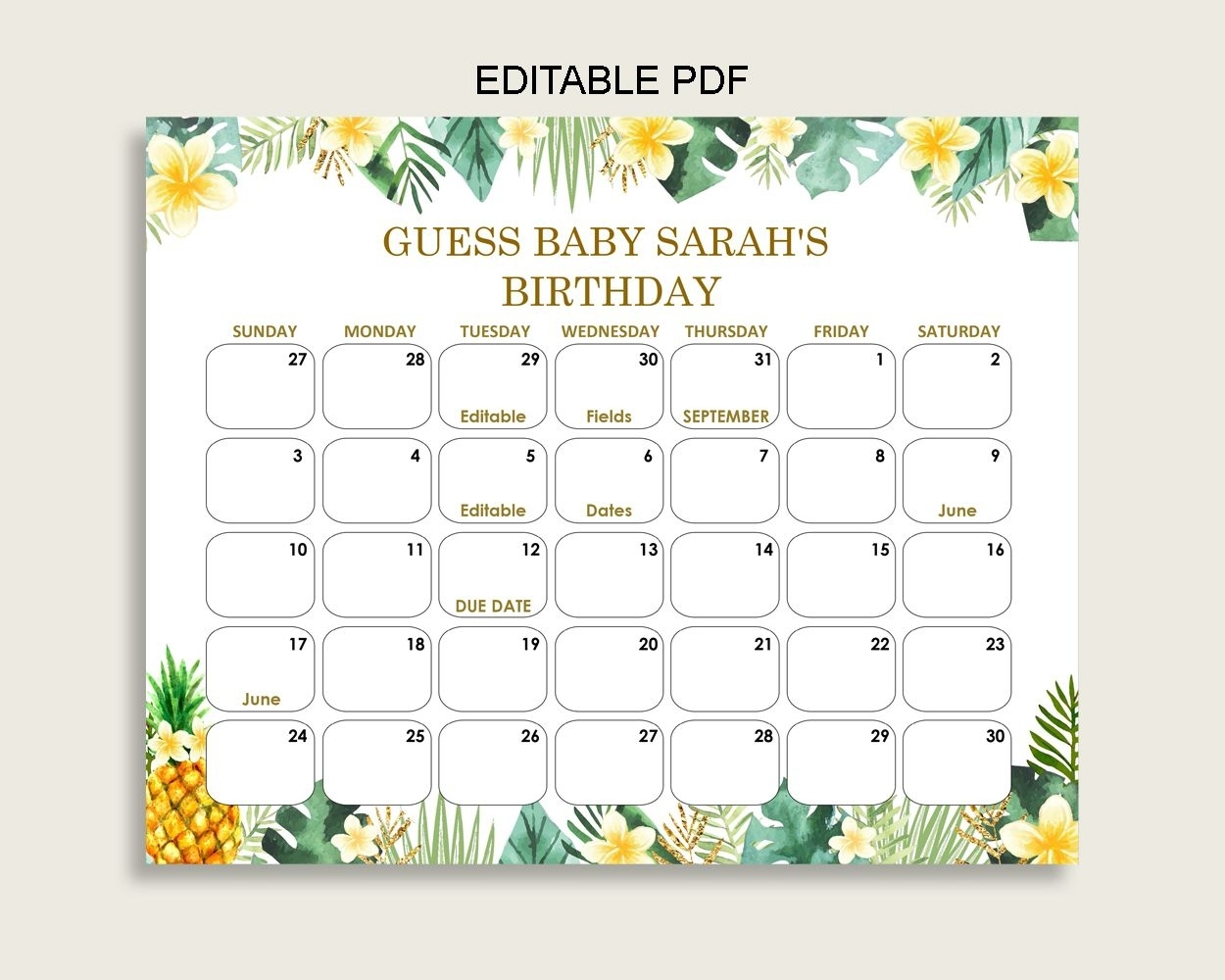 Green Yellow Guess Baby Due Date Calendar Game Printable