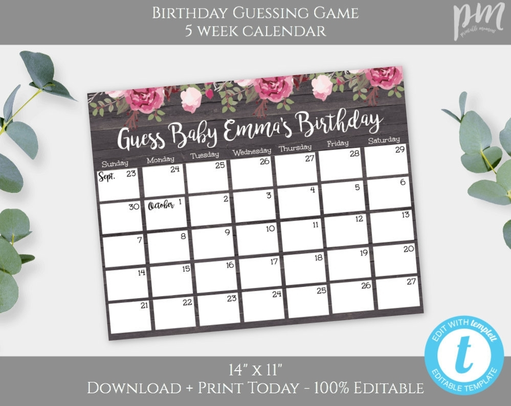 Guess Baby Birthday Baby Shower Calendar Template, Rustic Floral Calendar  Game Baby Shower Game Due Date Calendar Editable + Printable Bsrf3
