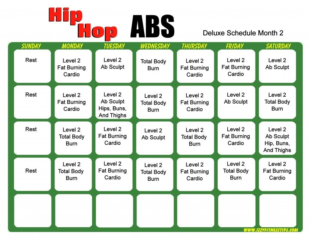 Hip Hop Abs Schedule Deluxe Month 2 | Hip Hop Abs, Hip Hop